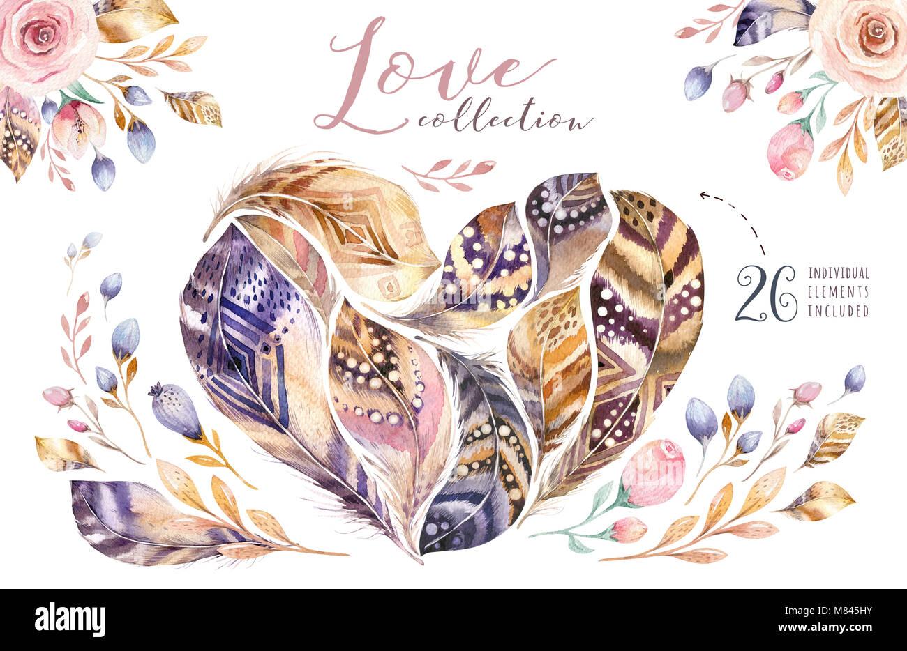 Boho Style Federn Herzform. Liebe Abbildung Auf Weißen Isoliert. Valntines  Vogel Fliegen Design Für T Shirt, Einladung, Hochzeit Karte. Helle Farben.