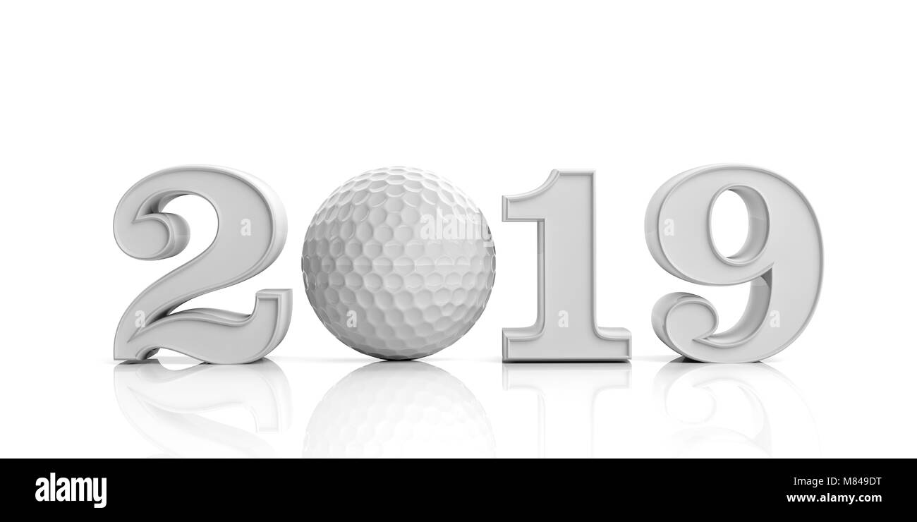golf 2019 neues jahr 2019 mit golf ball auf wei em. Black Bedroom Furniture Sets. Home Design Ideas