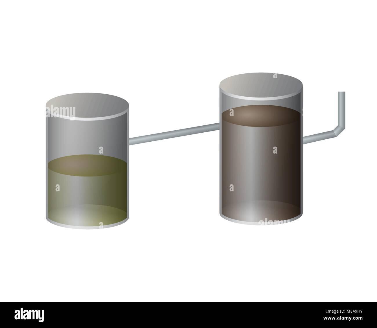U Septischen Tank Vector Illustration. Ein System Von Abwasserleitungen.  Stockbild