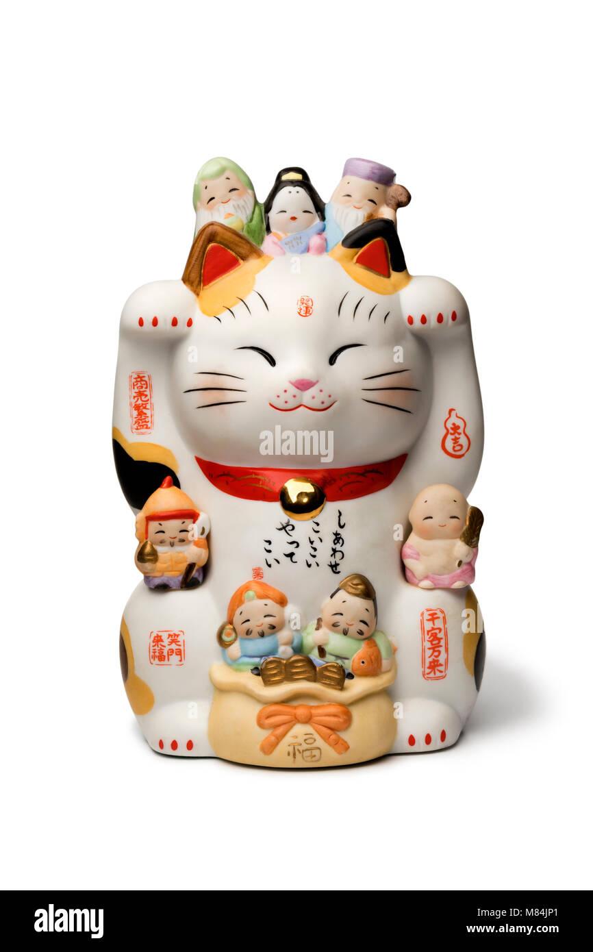Japanische Maneki Neko, Lucky cat auf weißem Hintergrund Stockbild
