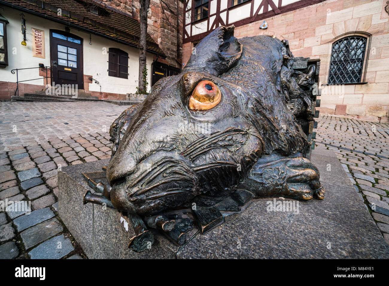 Albrecht Dürer Hasen, Nürnberg, Franken, Bayern, Deutschland, Europa Stockbild