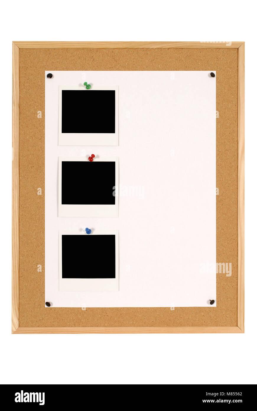 Cork Ankündigung oder Bulletin Board mit Holzrahmen und großes Blatt ...