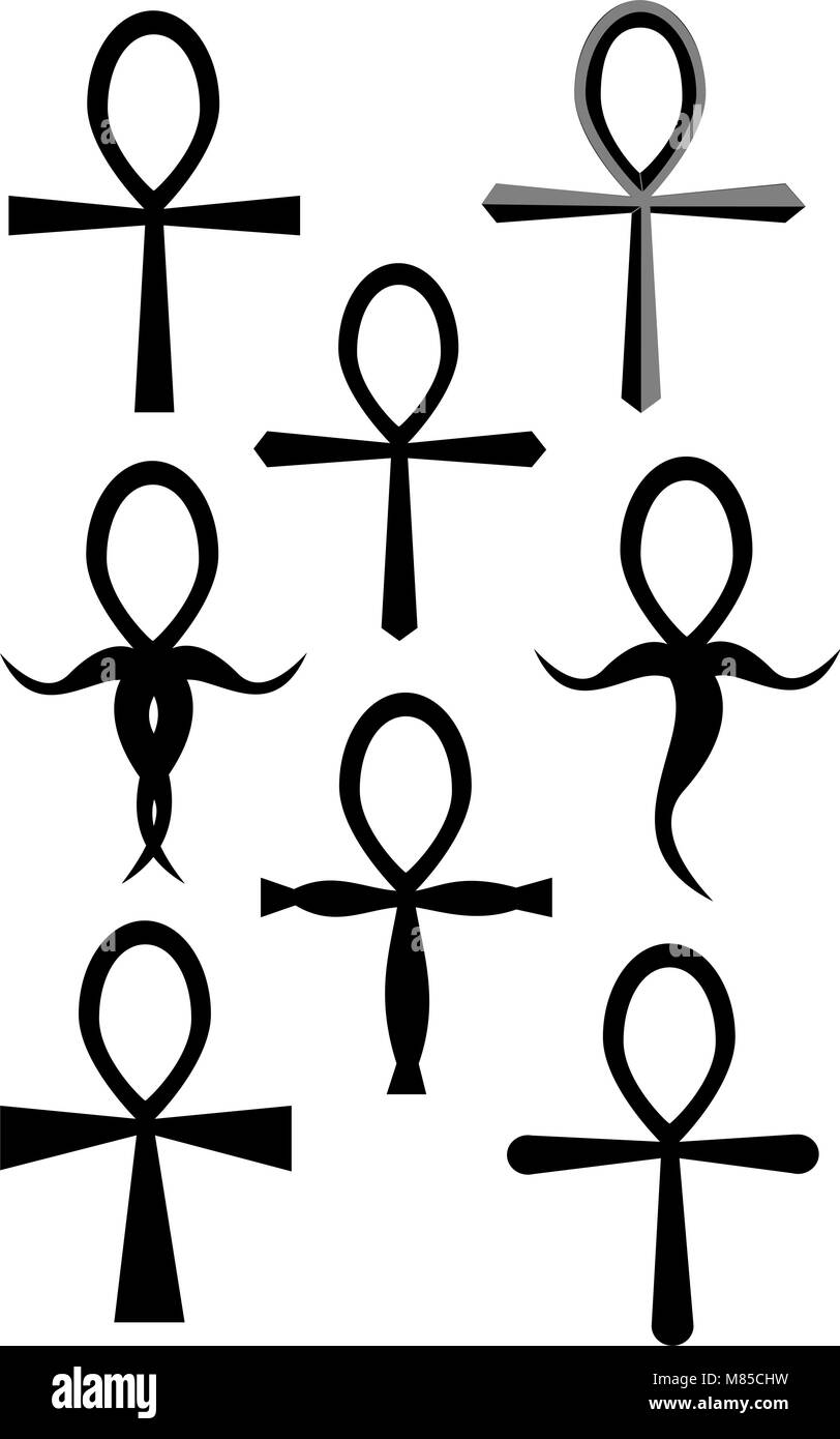 Ein Tribal Ankh Tattoo Sammlung Auf Weiß Vektor Abbildung Bild