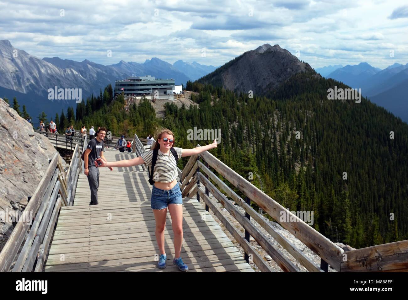 Die Kanadischen Rocky Mountains, Sulpher Mountain, Banff National Park. Stockbild