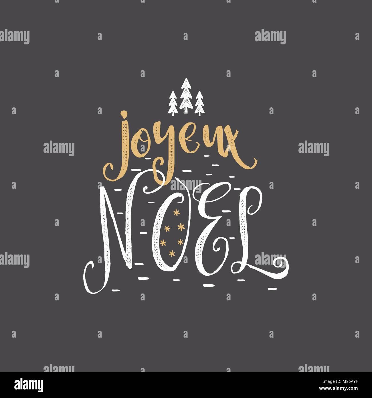 Weihnachten in französische Begrüßung. Joyeux Noel Typografie ...