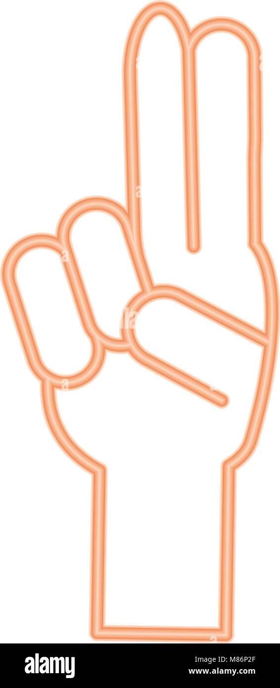 Hand mit zwei Fingern auf weißem Hintergrund, Vector Illustration Stock Vektor