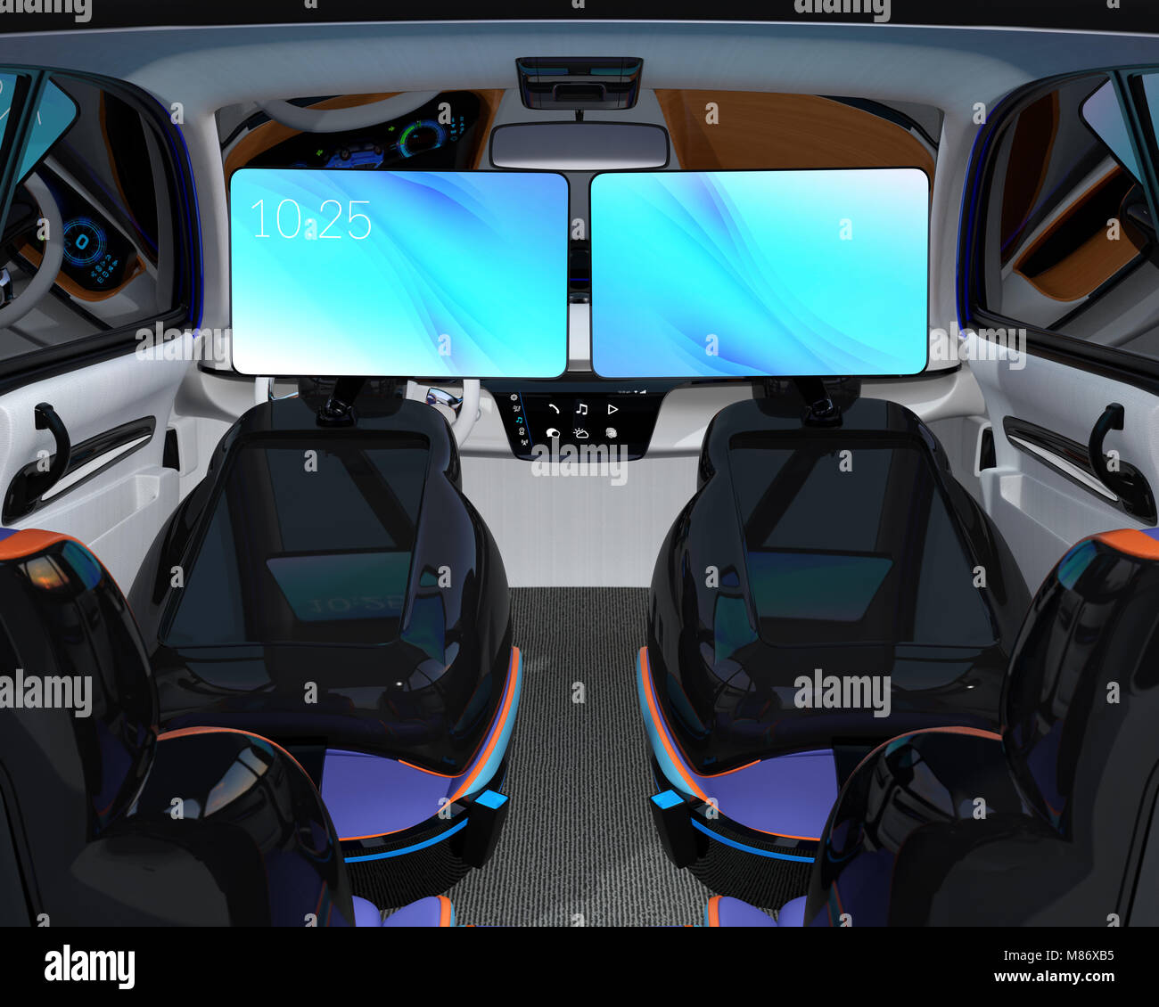 Self Driving Car Interior Concept Front Stockfotos & Self Driving ...