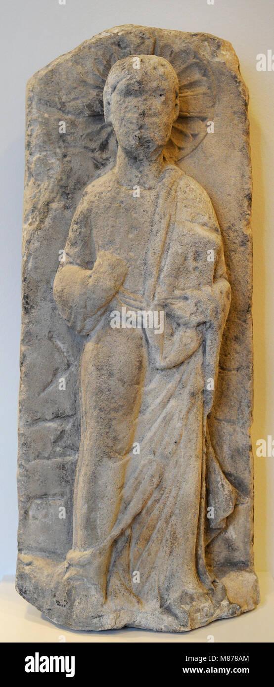 Christus Segen. Stein Relief, Kalkstein. Köln, C. 1160-1180. Deutschland. Schnütgen Museum. Köln, Stockbild