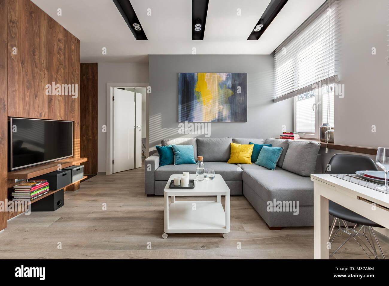 Tv Wohnzimmer mit Holzwänden und große, graue Sofa Stockfoto ...
