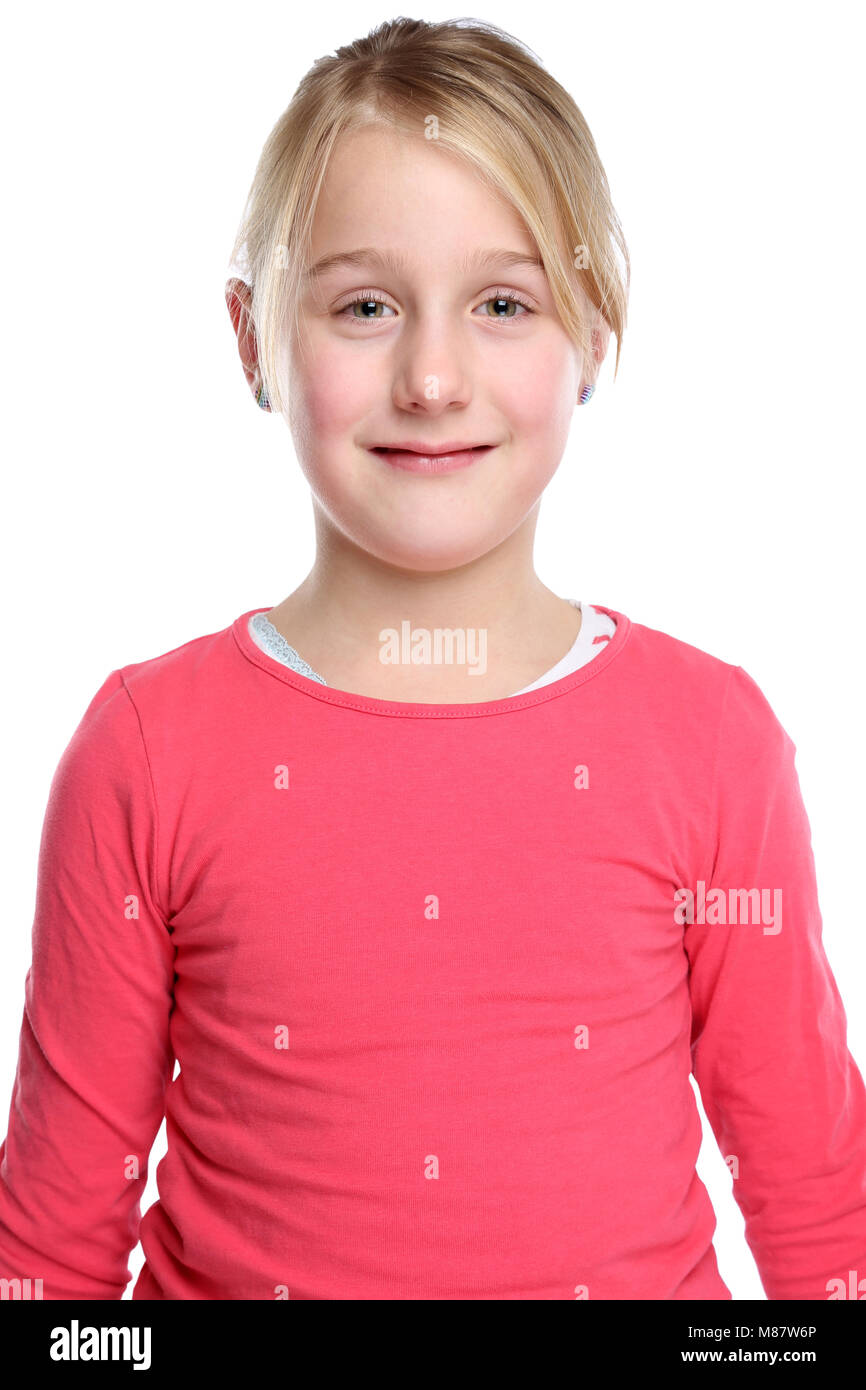 Kind Mädchen Oberkörper Portrait auf weißem Hintergrund Stockbild