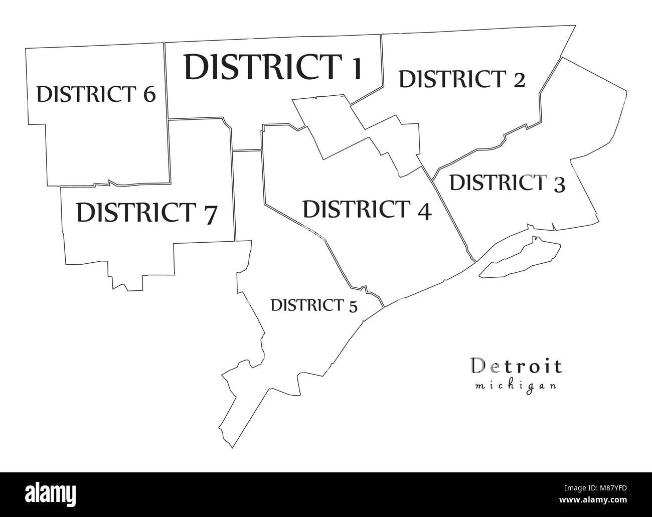 Moderne Stadtplan Detroit Michigan Stadt Der Usa Mit Bezirken