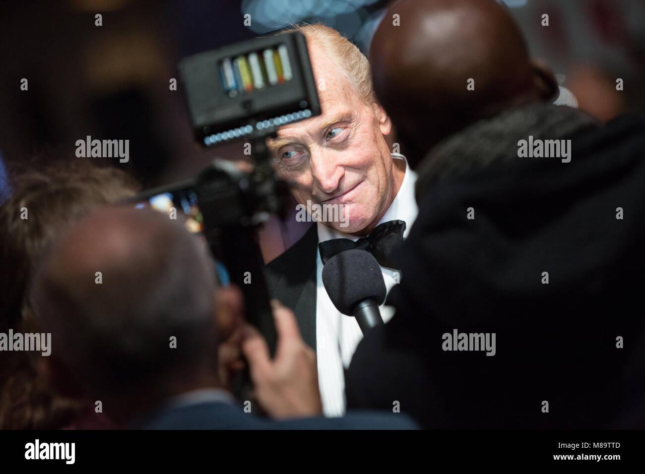 "London, UK, 8. Oktober 2014, Charles Dance"", die Nachahmung Spiel 'Opening Night Gala der BFI London Film Stockbild"