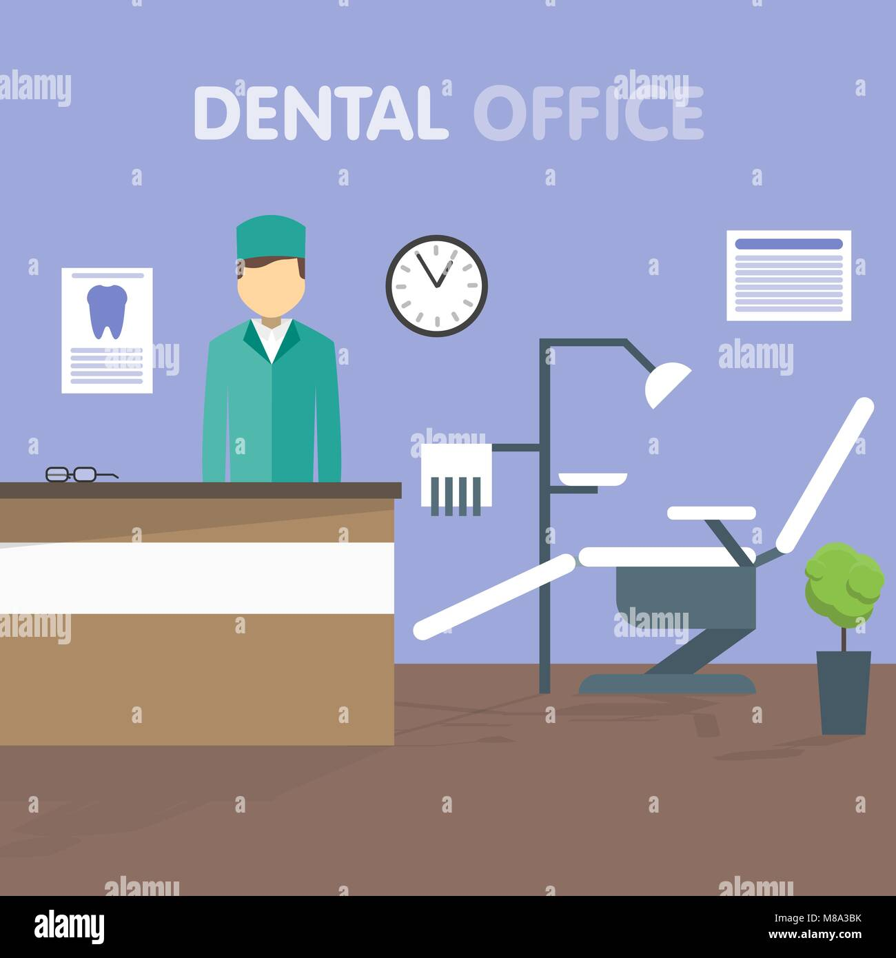 Arbeitsplatz Zahnarzt, Vector Illustration. Stock Vektor