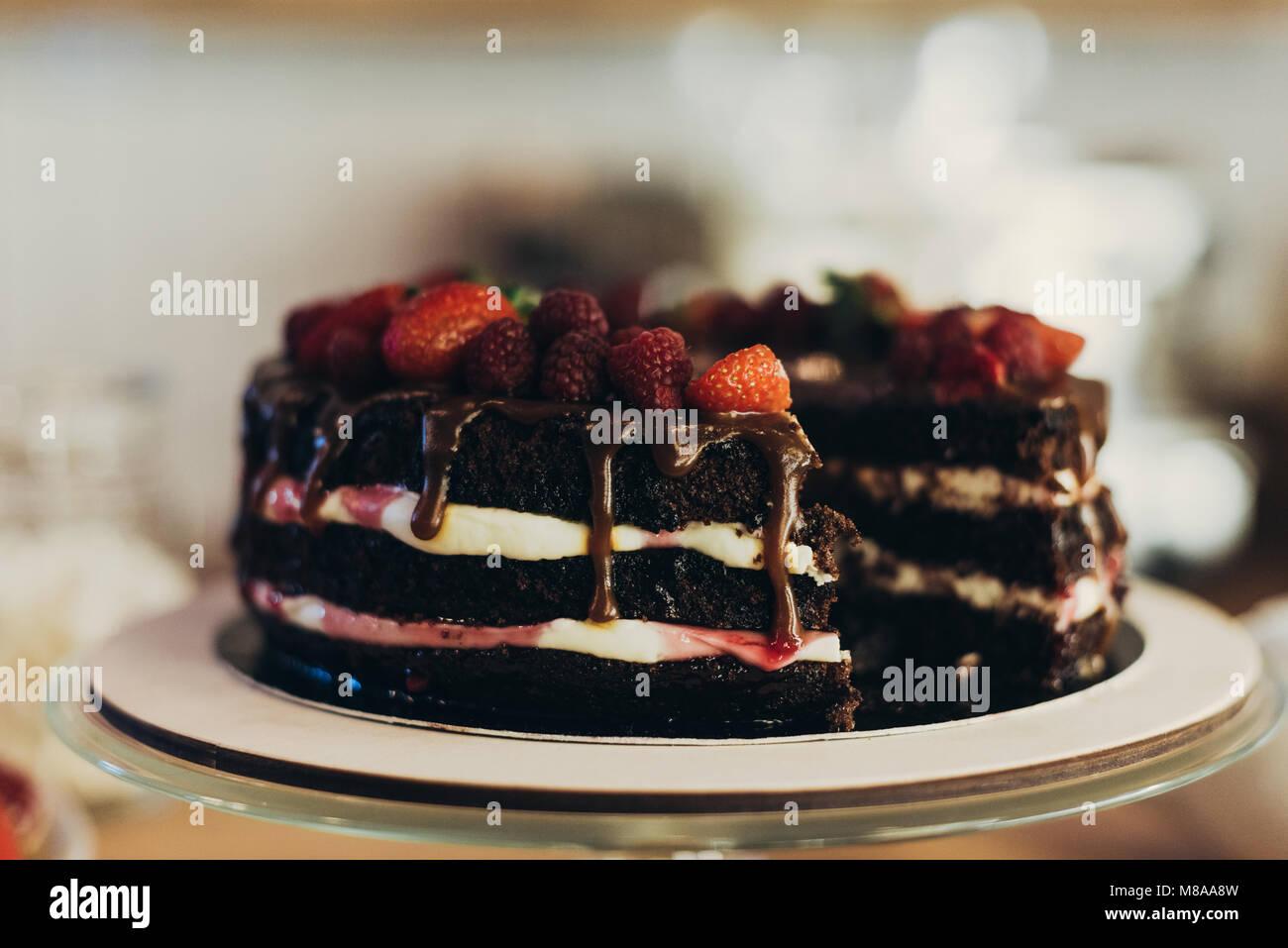 Schokolade Kuchen mit Früchten Stockbild