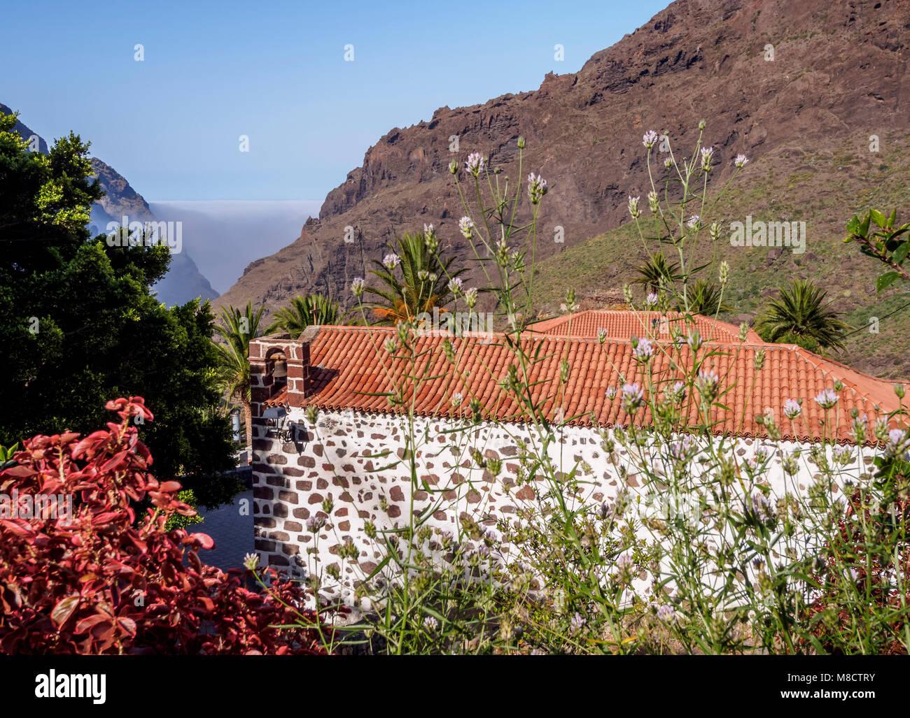 Kirche in Masca, Teneriffa, Kanarische Inseln, Spanien Stockbild