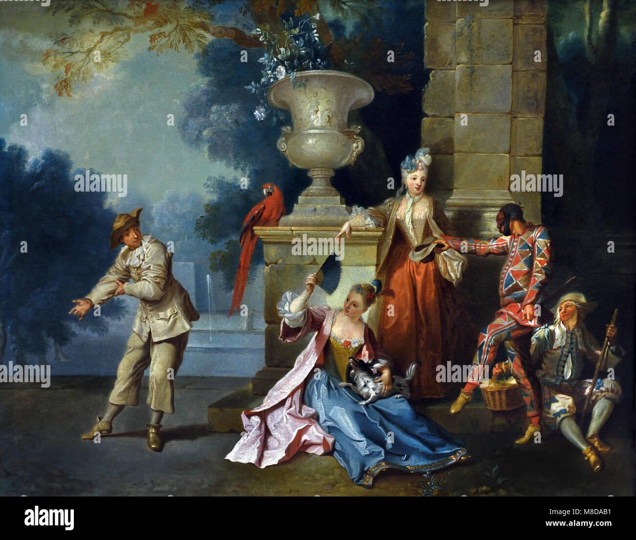 Comediens Italiens Dans un parc-italienischen Komödianten in einem Park von Jean Baptiste Oudry 1686-1755, Stockbild