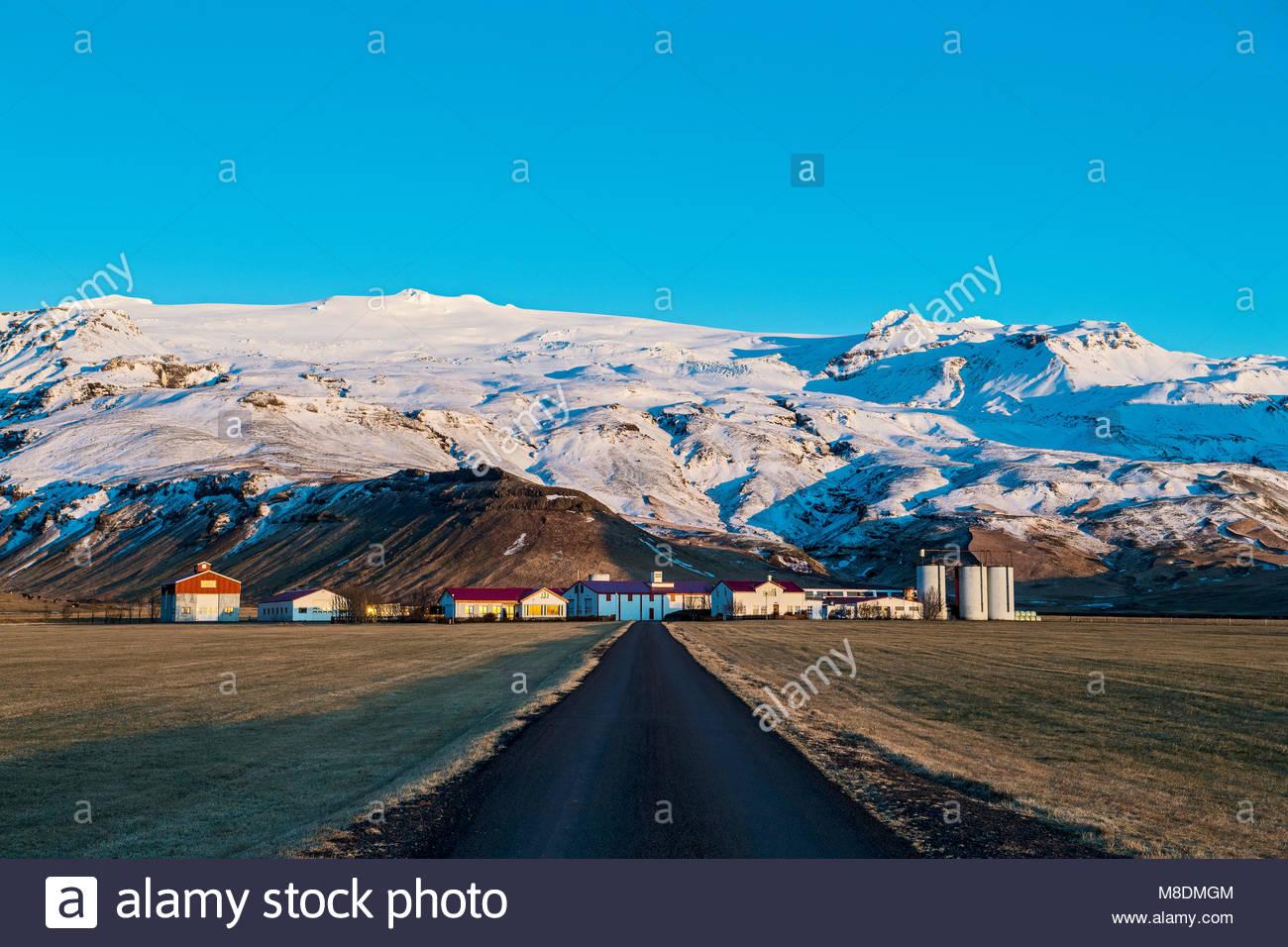 Dorf unten Eyjafjallajokull Gletscher, Vulkan, Island, Europa Stockbild