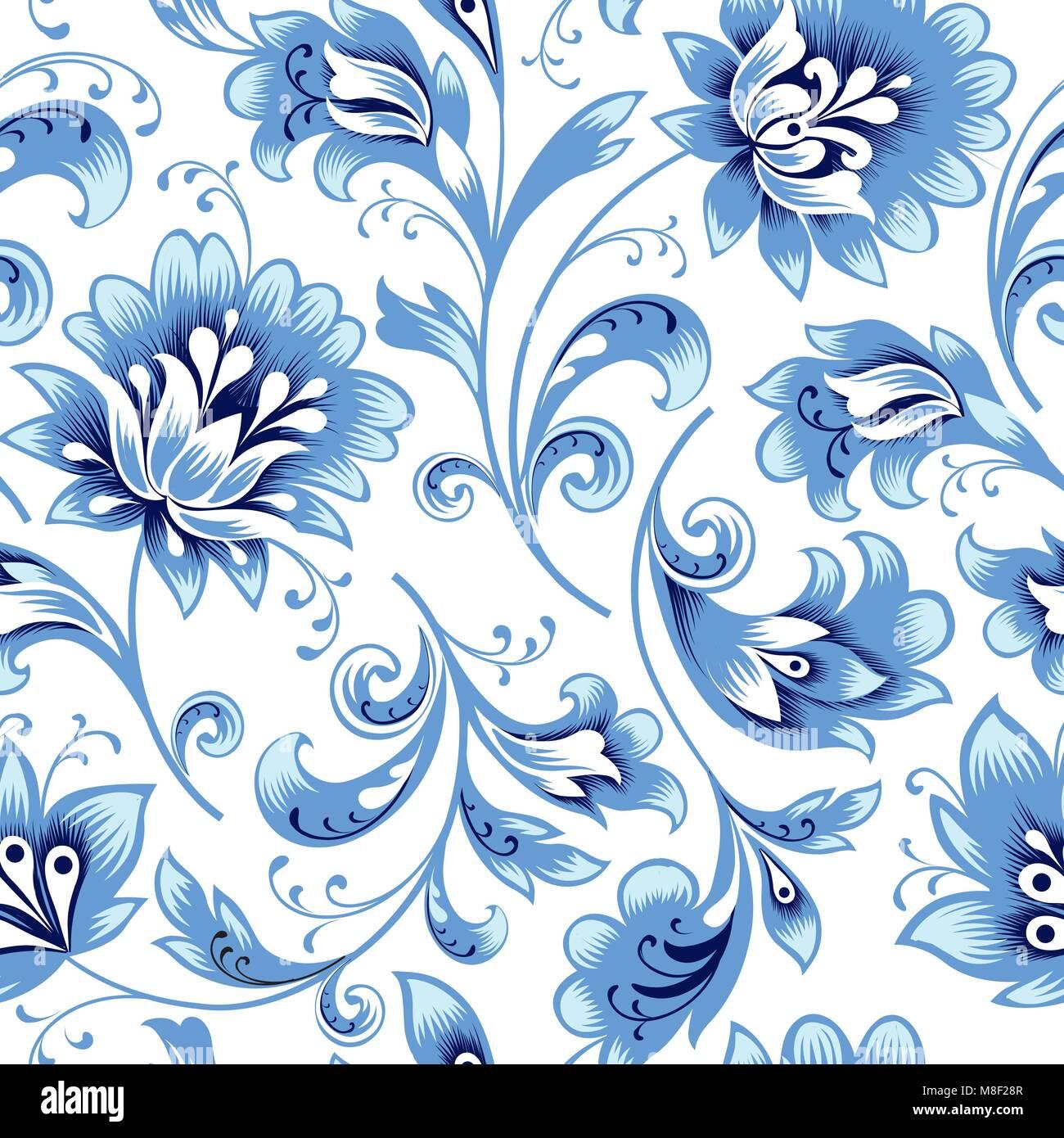 Florale nahtlose Muster. Blume Silhouette Ornament. Zierpflanzen gedeihen Hintergrund, Russisch native ethnischen Stockbild