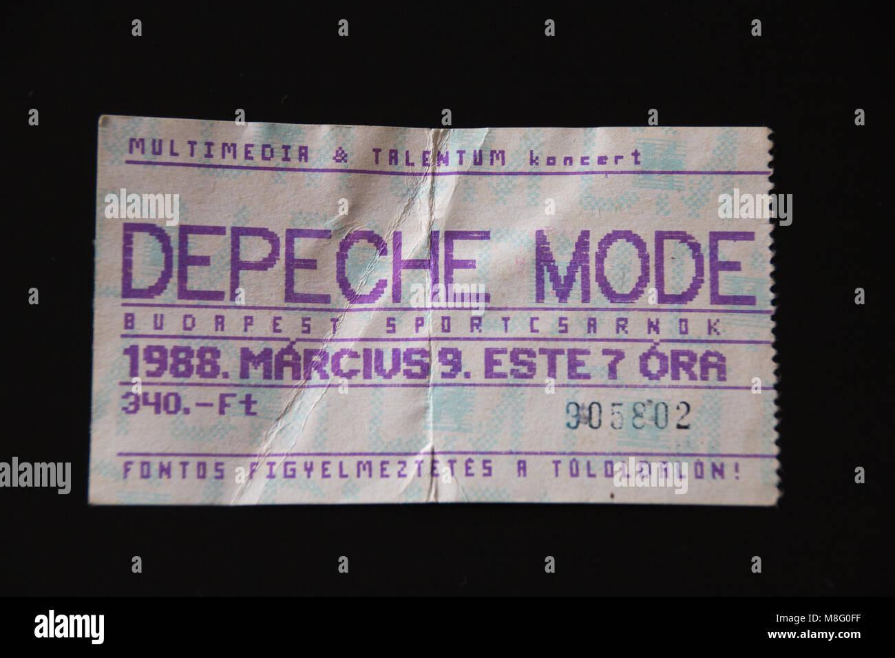 Magdeburg, Deutschland - 17 März 2018: Vintage Konzert ticket des Pop Band Depeche Mode, die ein Konzert gab, Stockbild