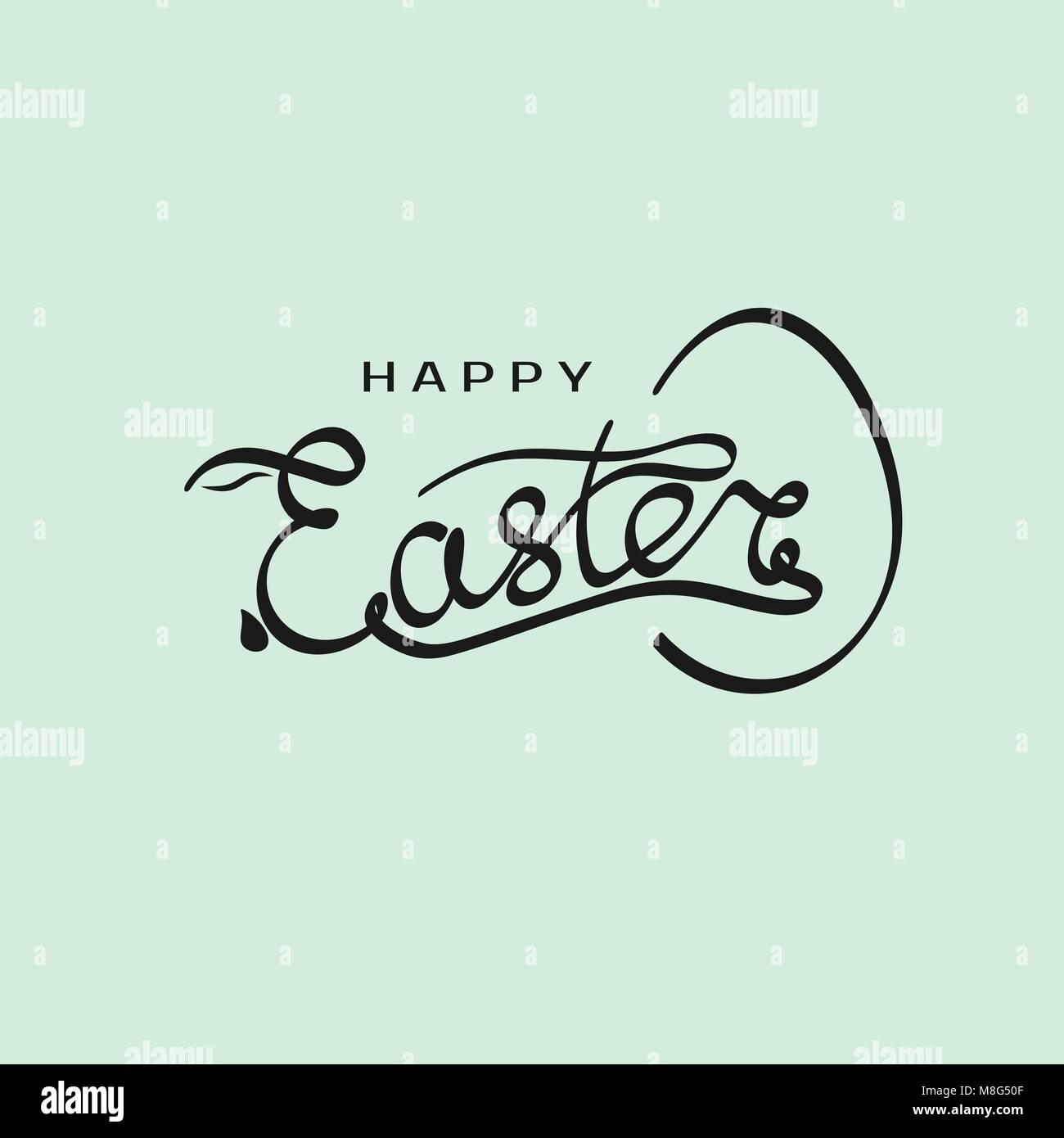 Hand gezeichnet Aufschrift Frohe Ostern mit Kaninchen Silhouette in ...