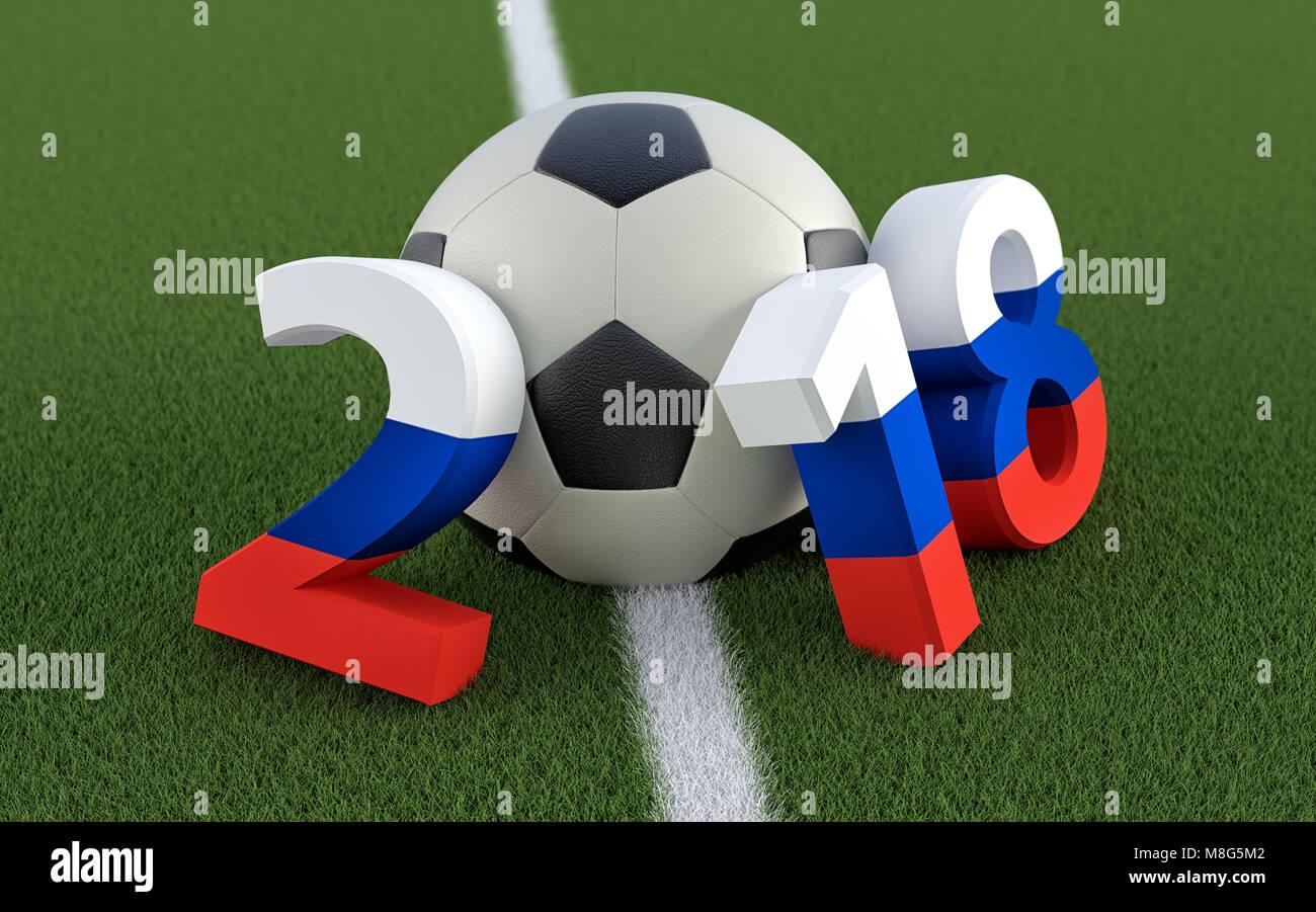 2018 in Russische Fahne Farben auf einem Fußballfeld. Ein Fußball ...