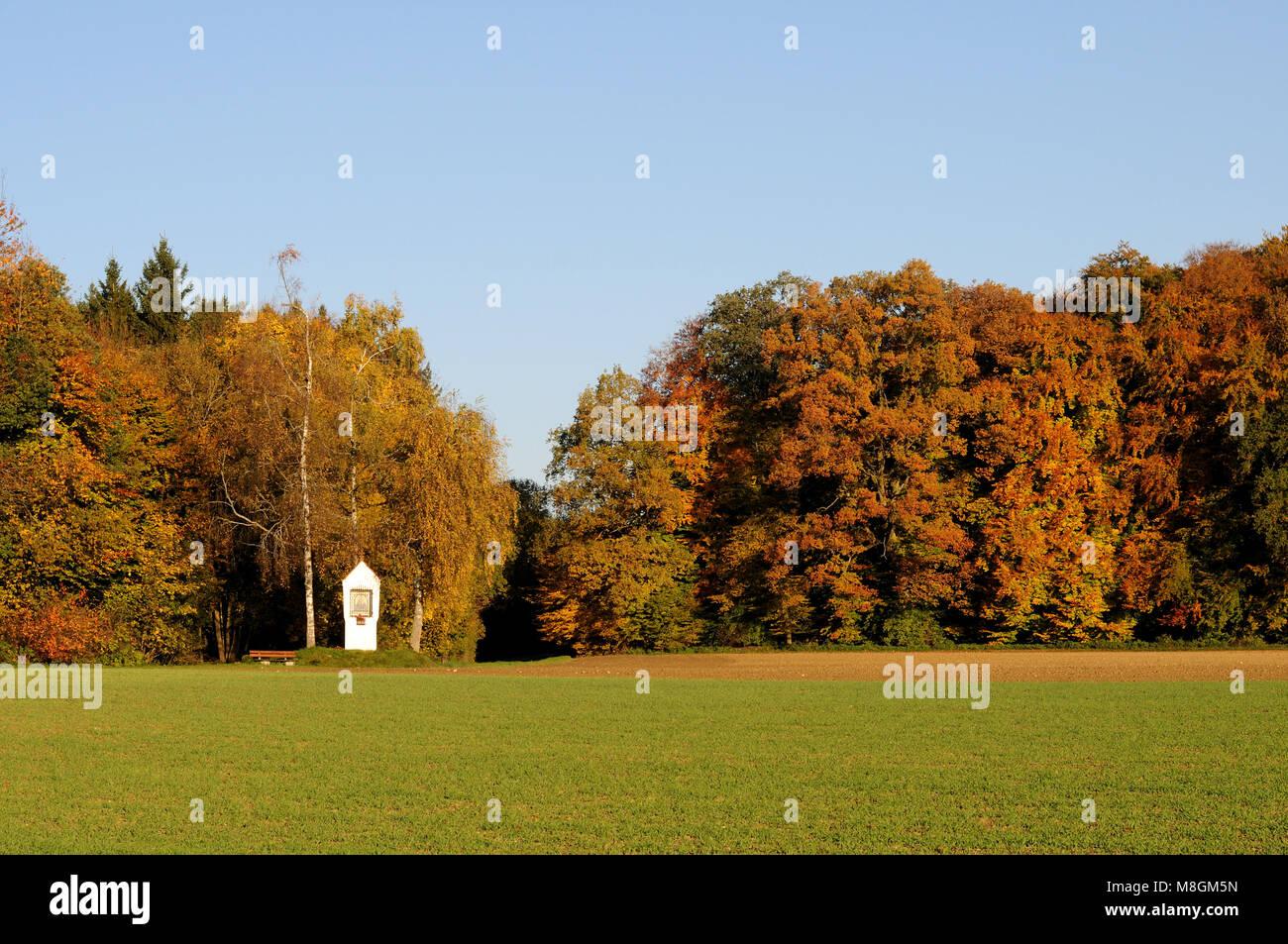 Herbst Landschaft mit Bildstock in Süddeutschland Stockbild