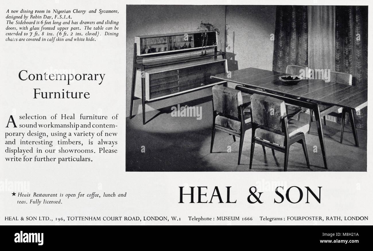 1950s Original Alten Vintage Werbung Werbung Zeitgenössische Möbel