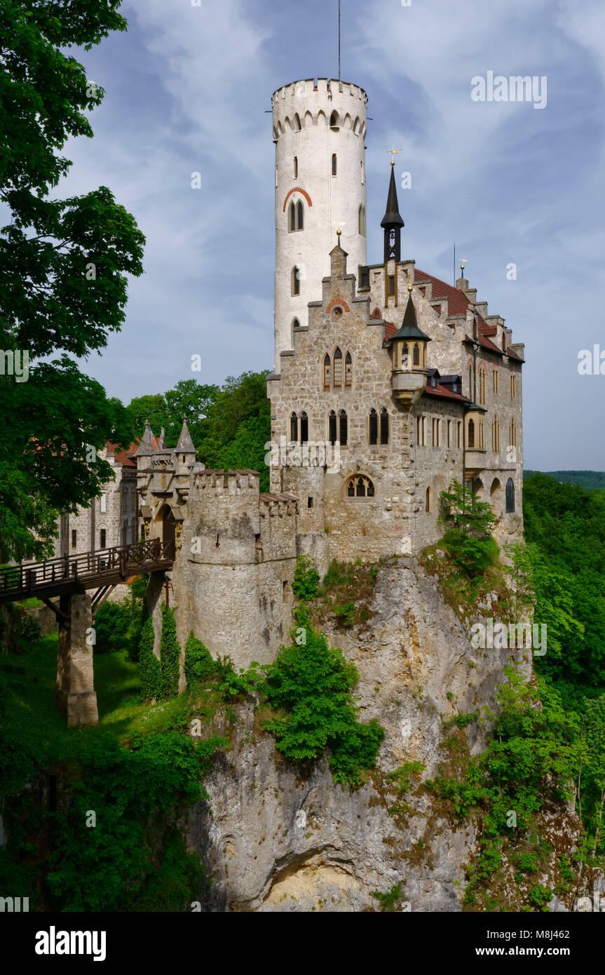 Schloss Lichtenstein auf der Schwäbischen Alb, Baden-Württemberg, Deutschland Stockbild