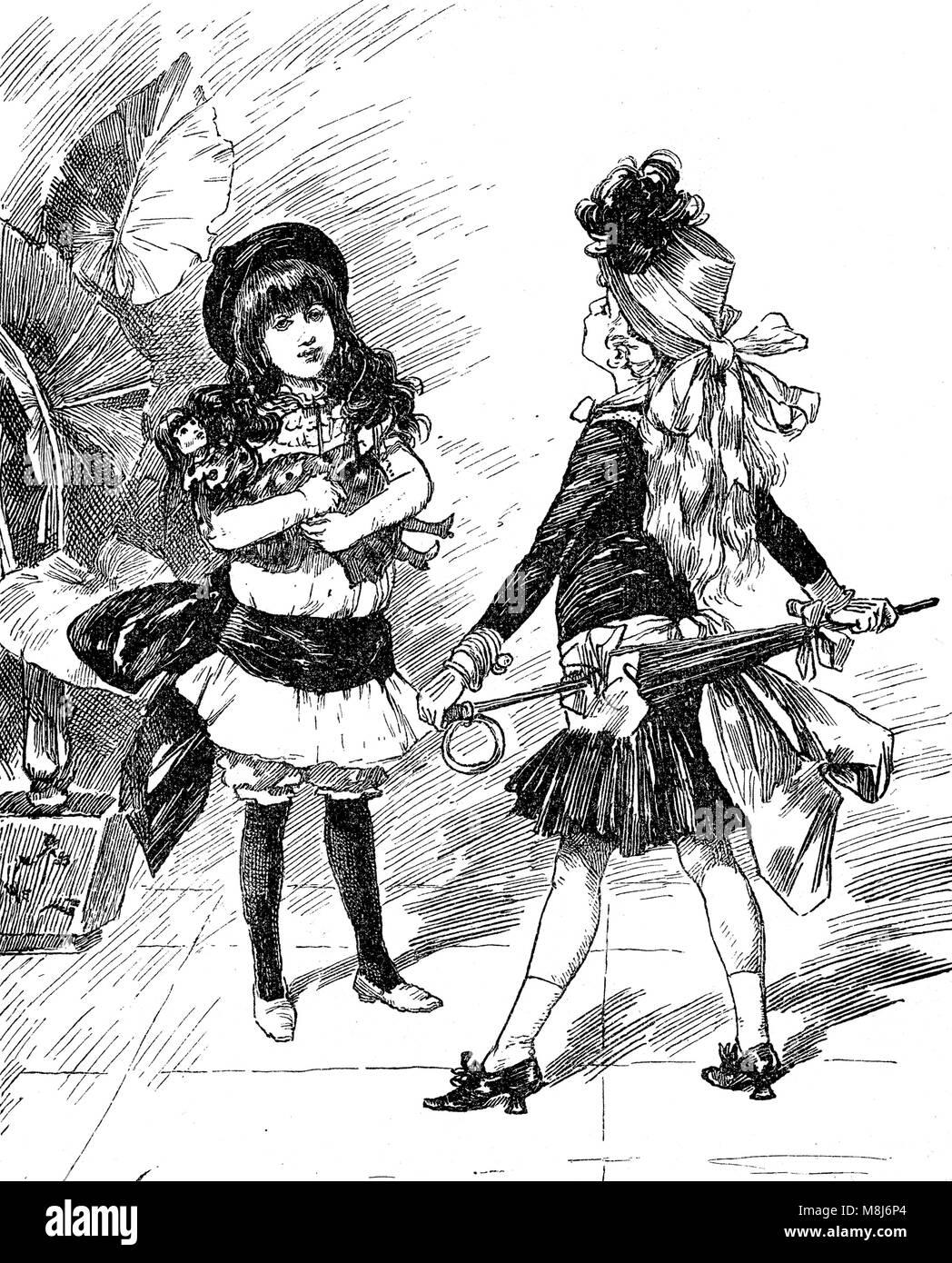 Vintage Karikaturen und Spaß: Modische junge Mädchen einander konfrontieren mit ausgefallenen Outfits Stockbild