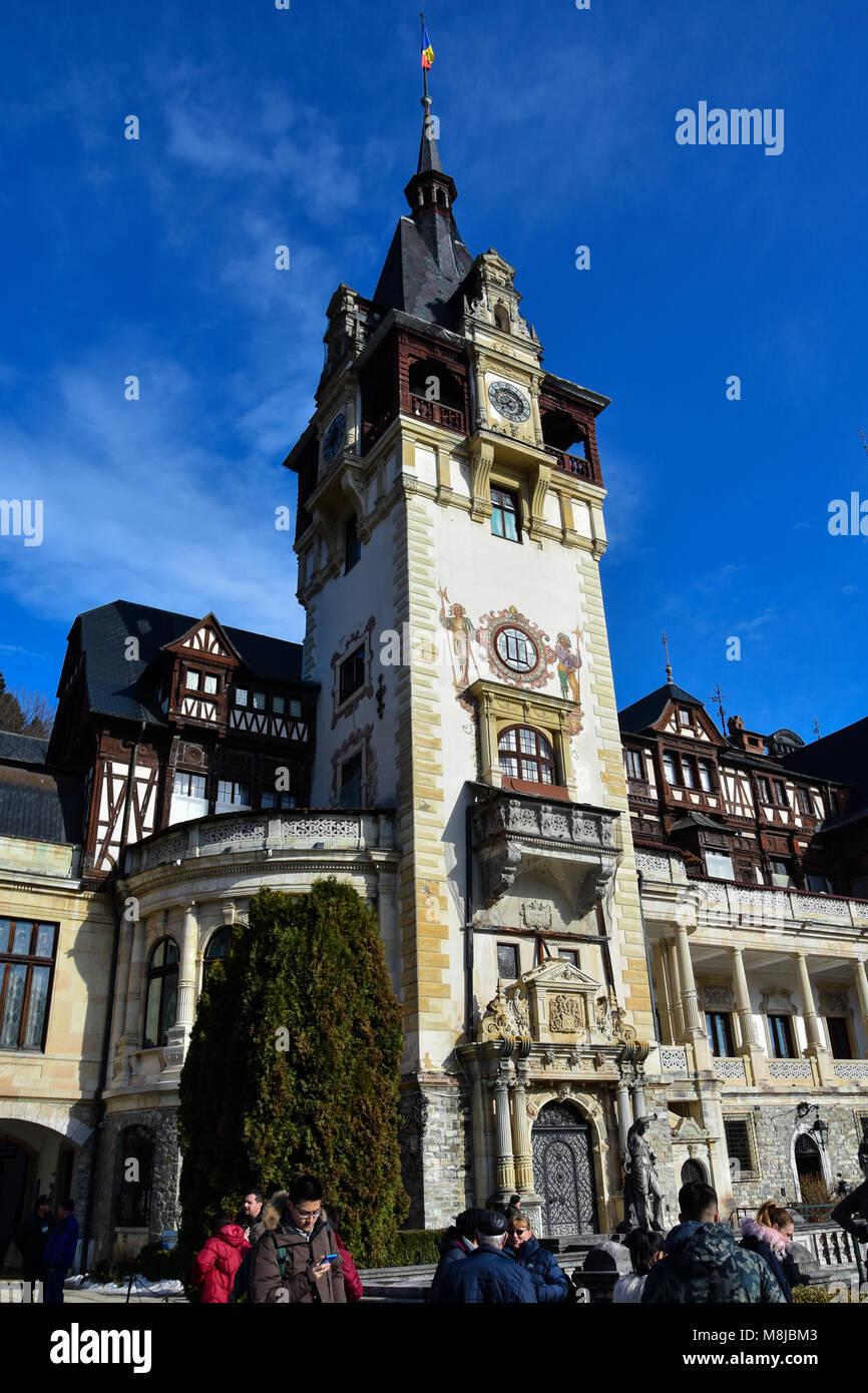Sinaia, Rumänien. Februar 04, 2017. Schloss Peles Stockbild