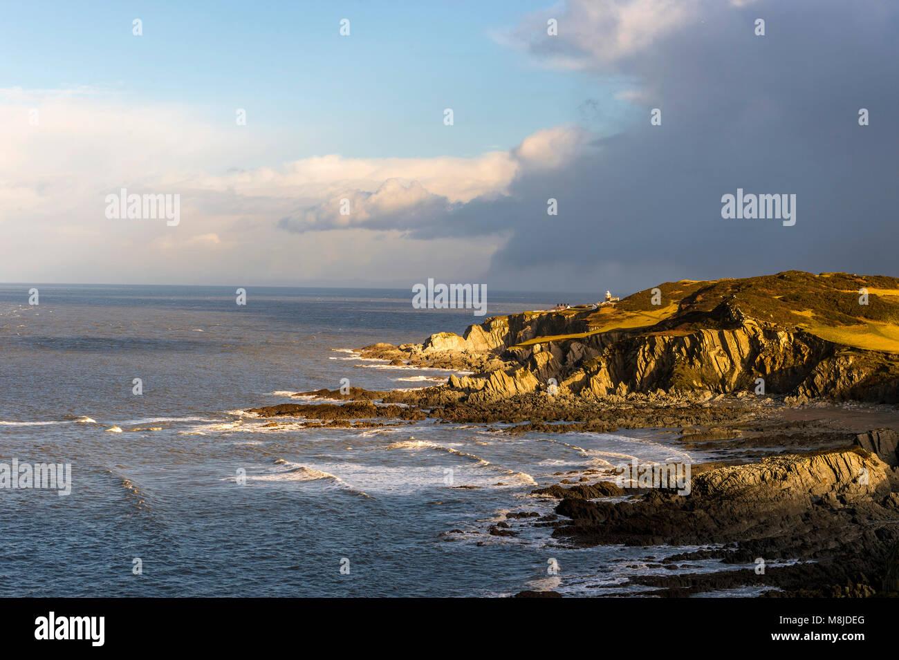 Große britische Landschaften - North Devon Küste (Stier Point Lighthouse) Stockbild