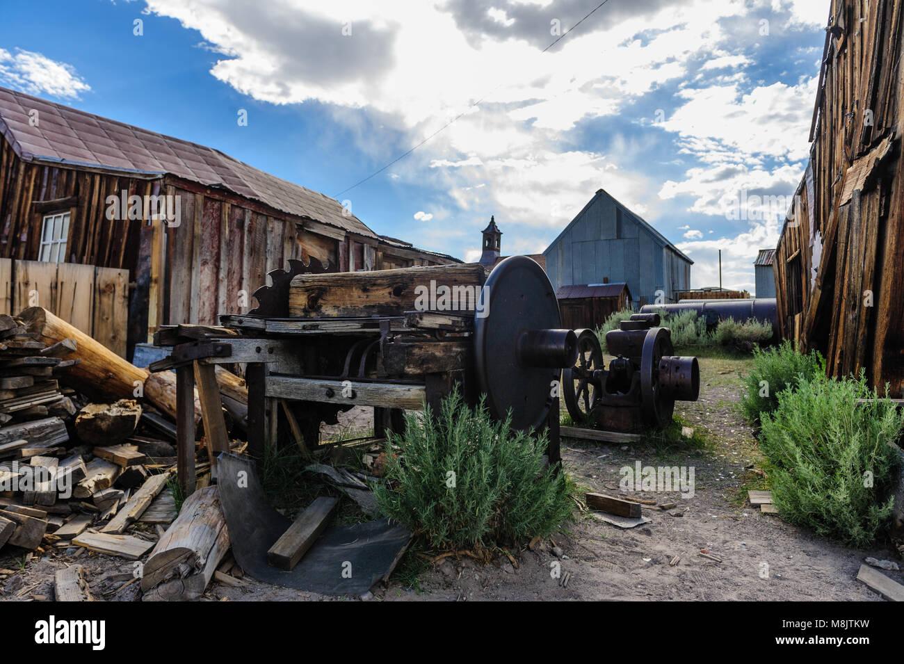 Zerstörte Häuser in einem amerikanischen Geisterstadt Stockbild