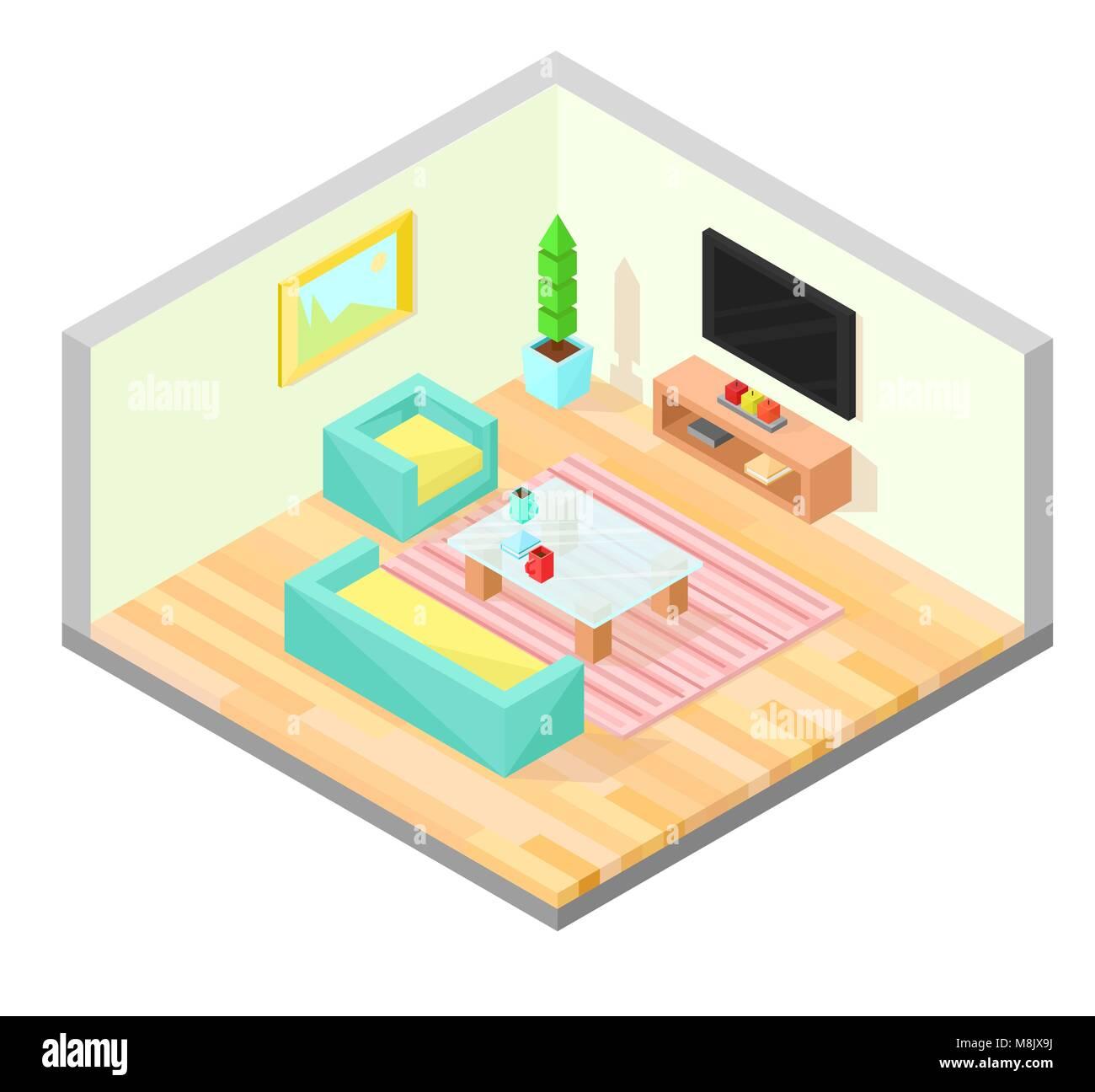 Wohnzimmer Isometrische Design Mit Tisch, TV, Sessel, Sofa, Werk, Malerei,