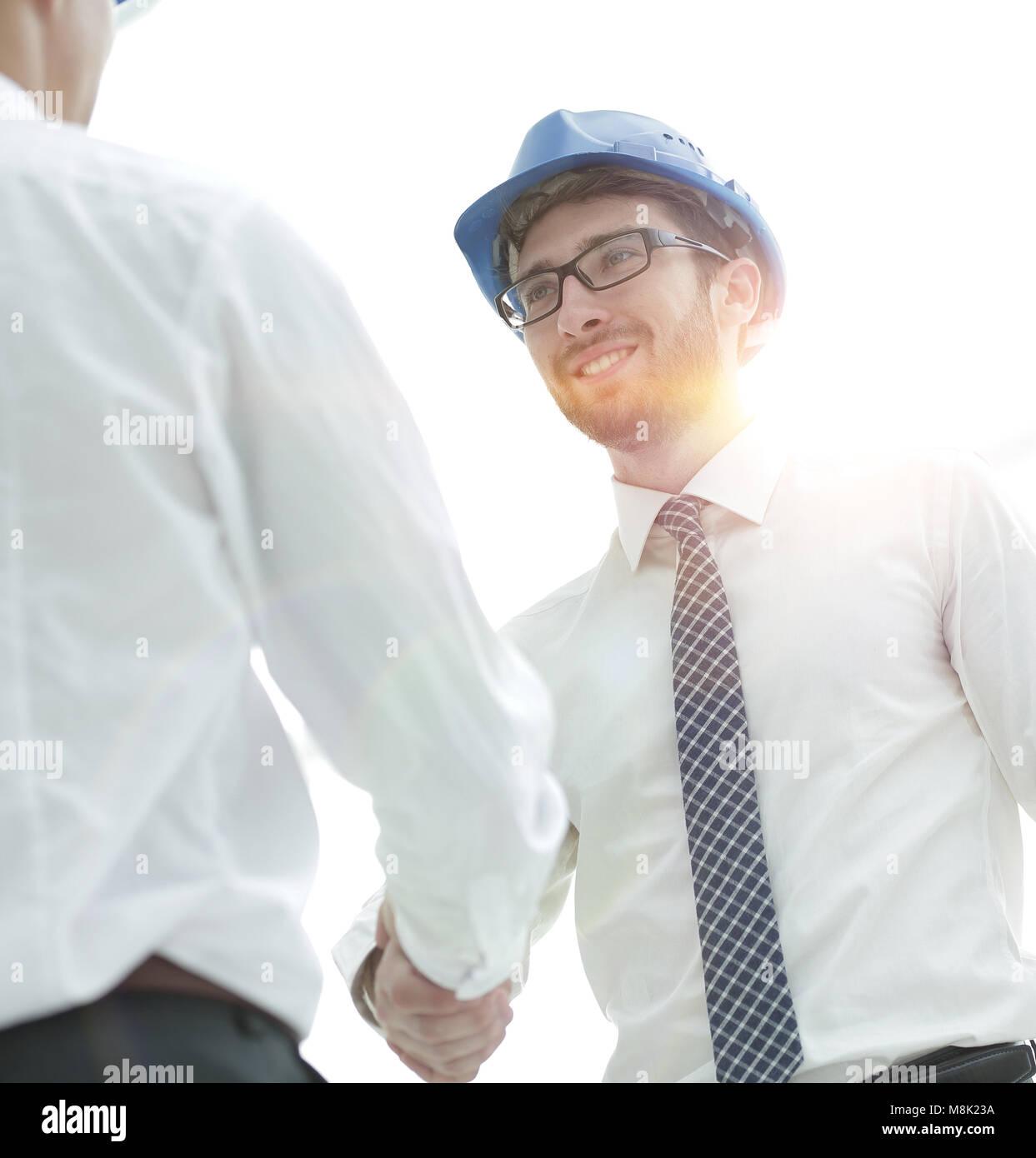 Handshake Architekt und Bauingenieur Stockbild
