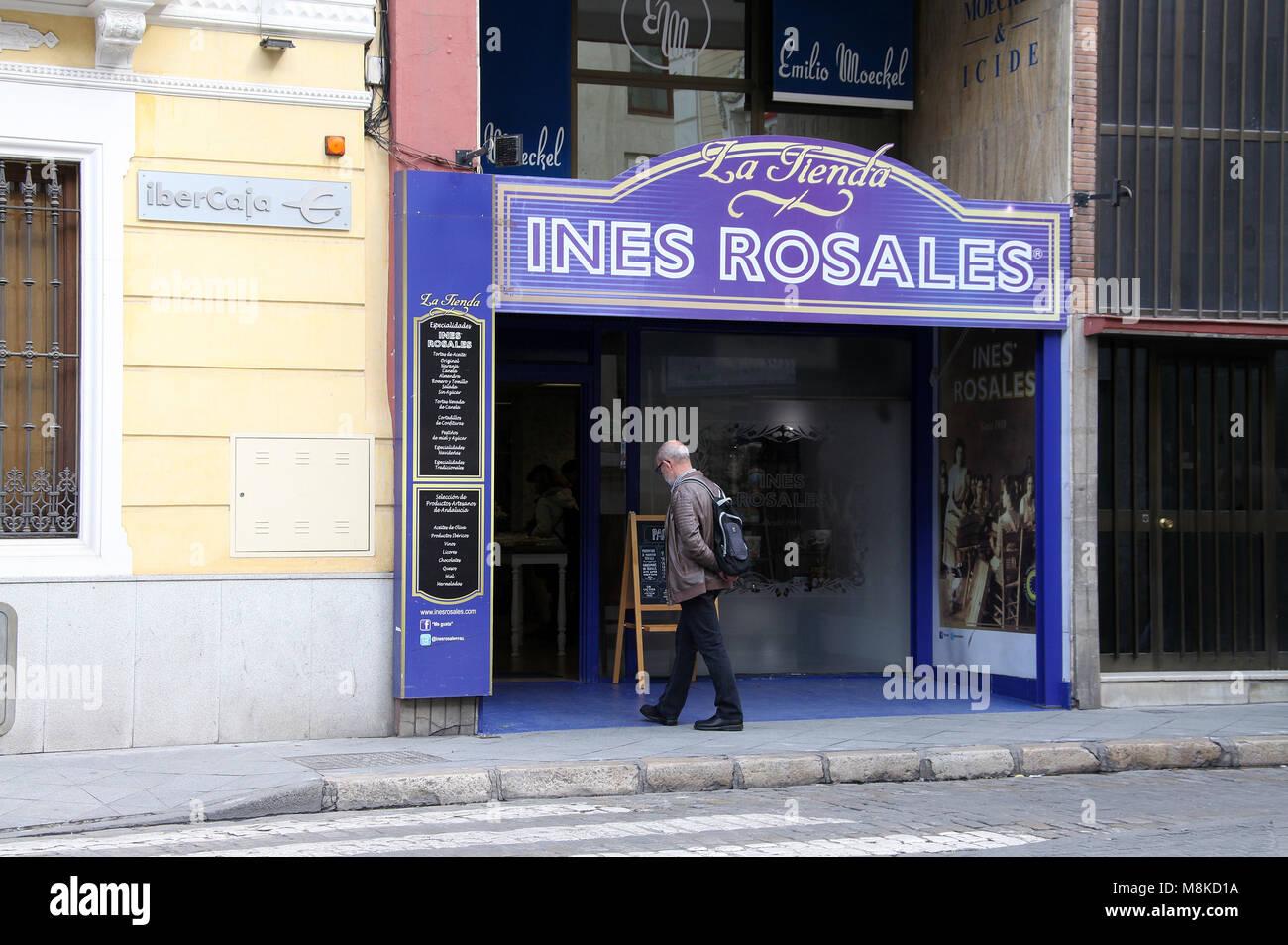 Ines Rosales Shop in Sevilla Stockbild