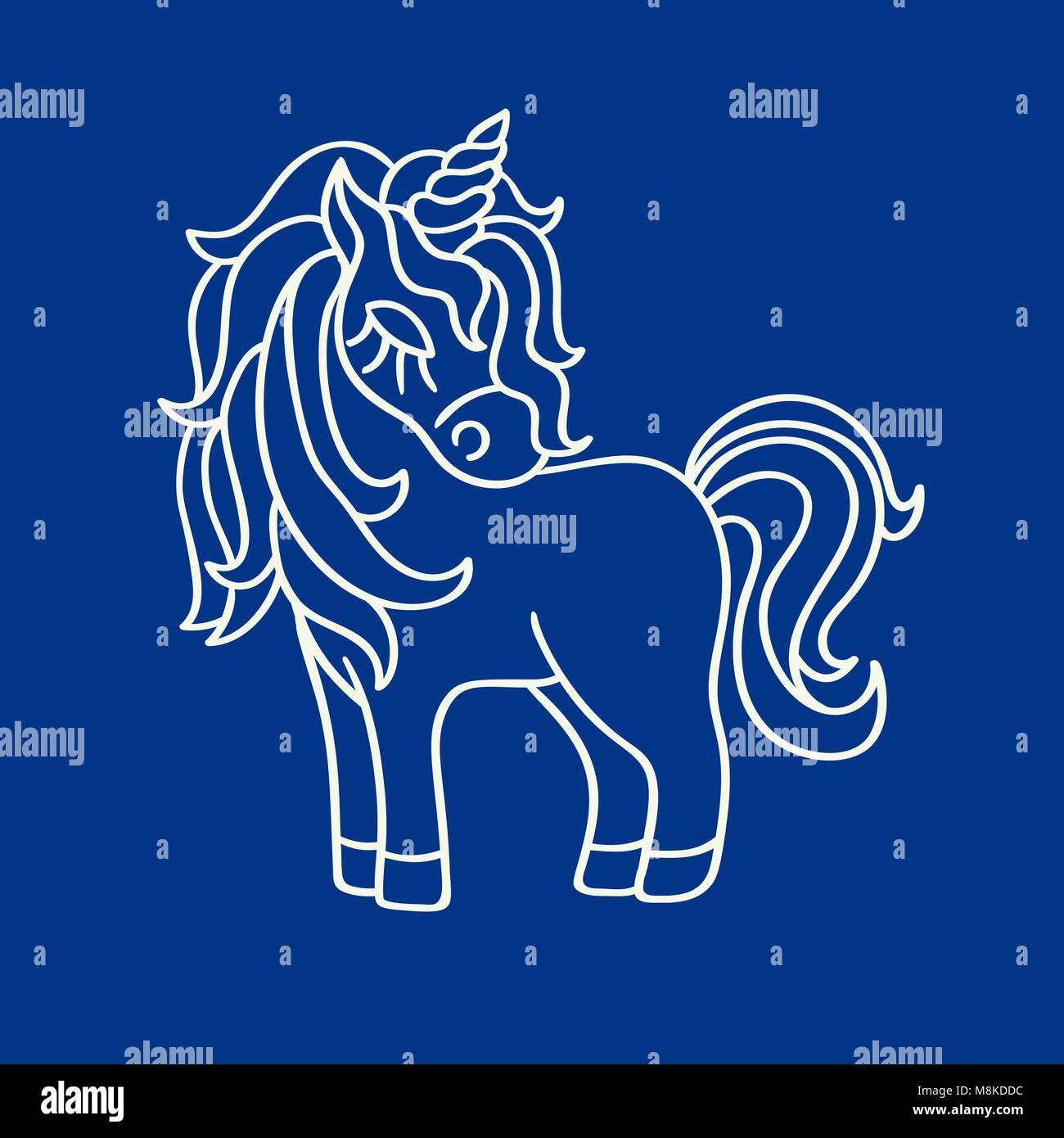 Süße Einhorn weiße Silhouette Skizze Symbol auf dem blauen ...