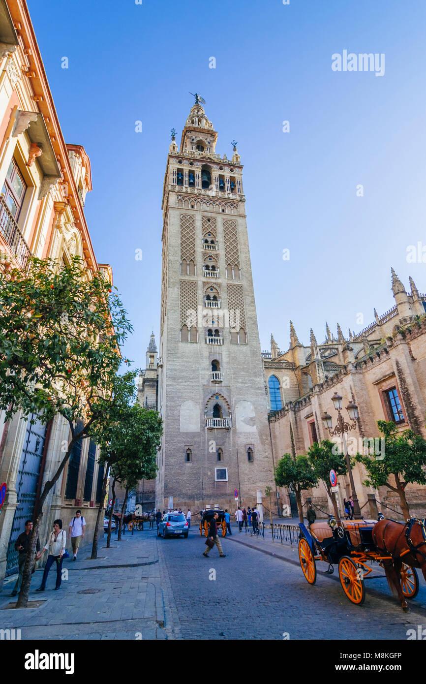 Sevilla, Andalusien, Spanien: Unesco Glockenturm Giralda ab Placentines Straße im Stadtteil Santa Cruz gesehen. Stockbild