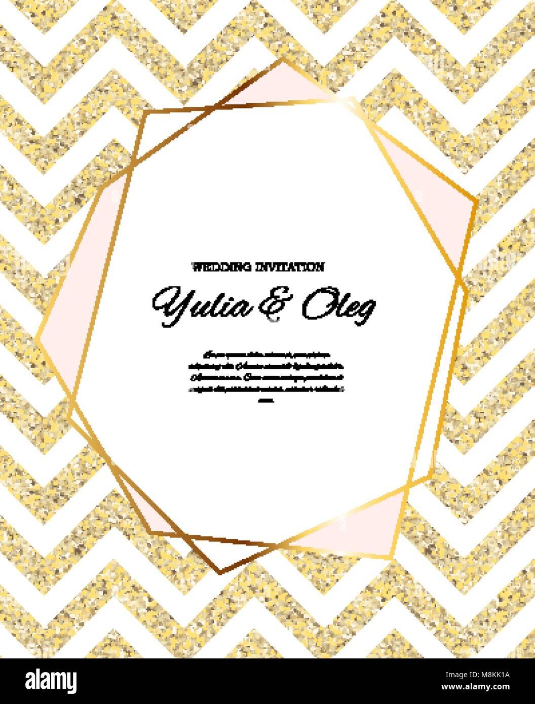 Beautifil Einladung Hochzeit Mit Goldenen Glitzer Hintergrund Vector  Illustration