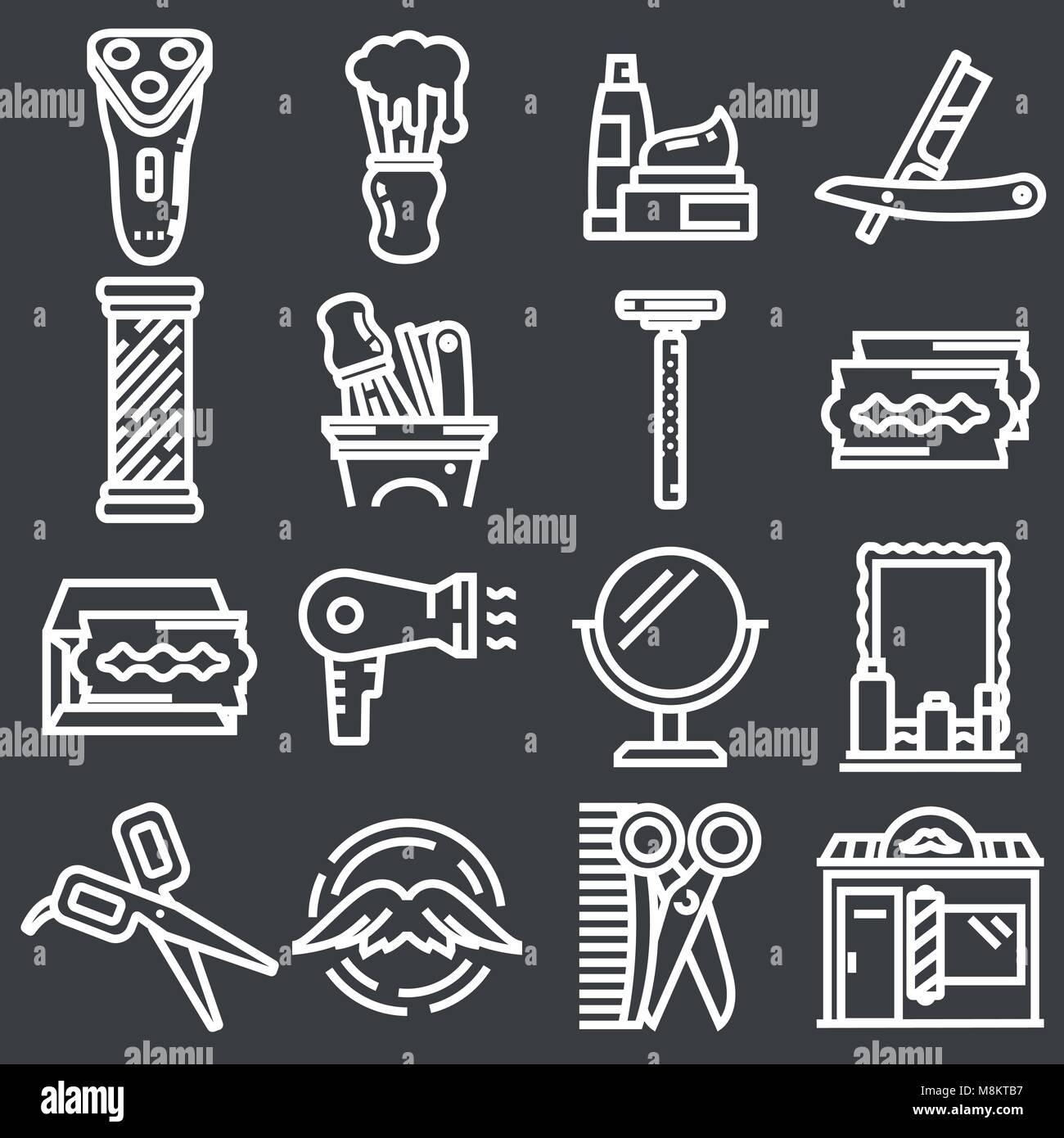 Friseur Salon oder Shop Vector Icons einstellen. Rasieren tools ...