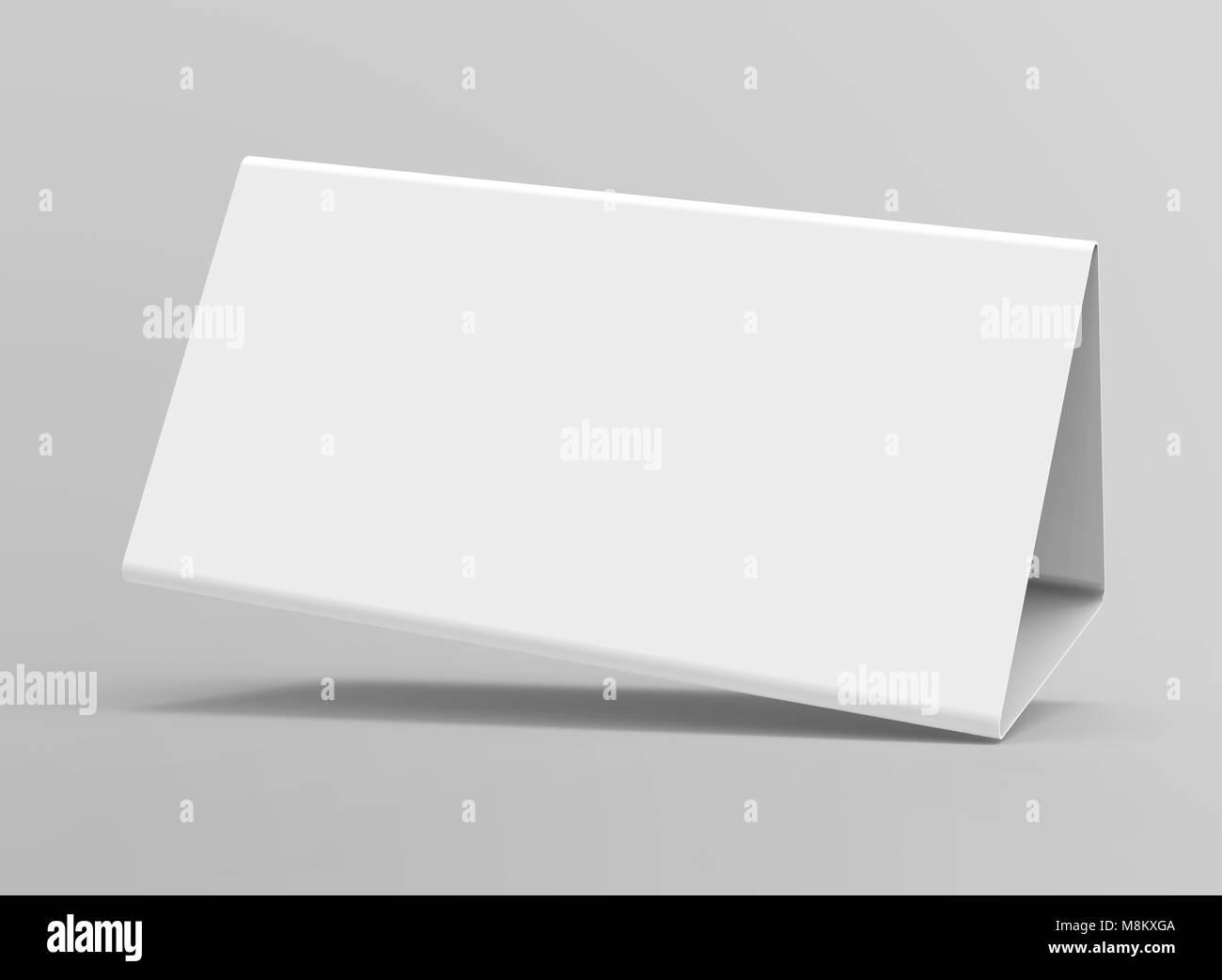 Leere Tabelle Zelt, 3d-render Tabelle Karte Mockup für Design ...