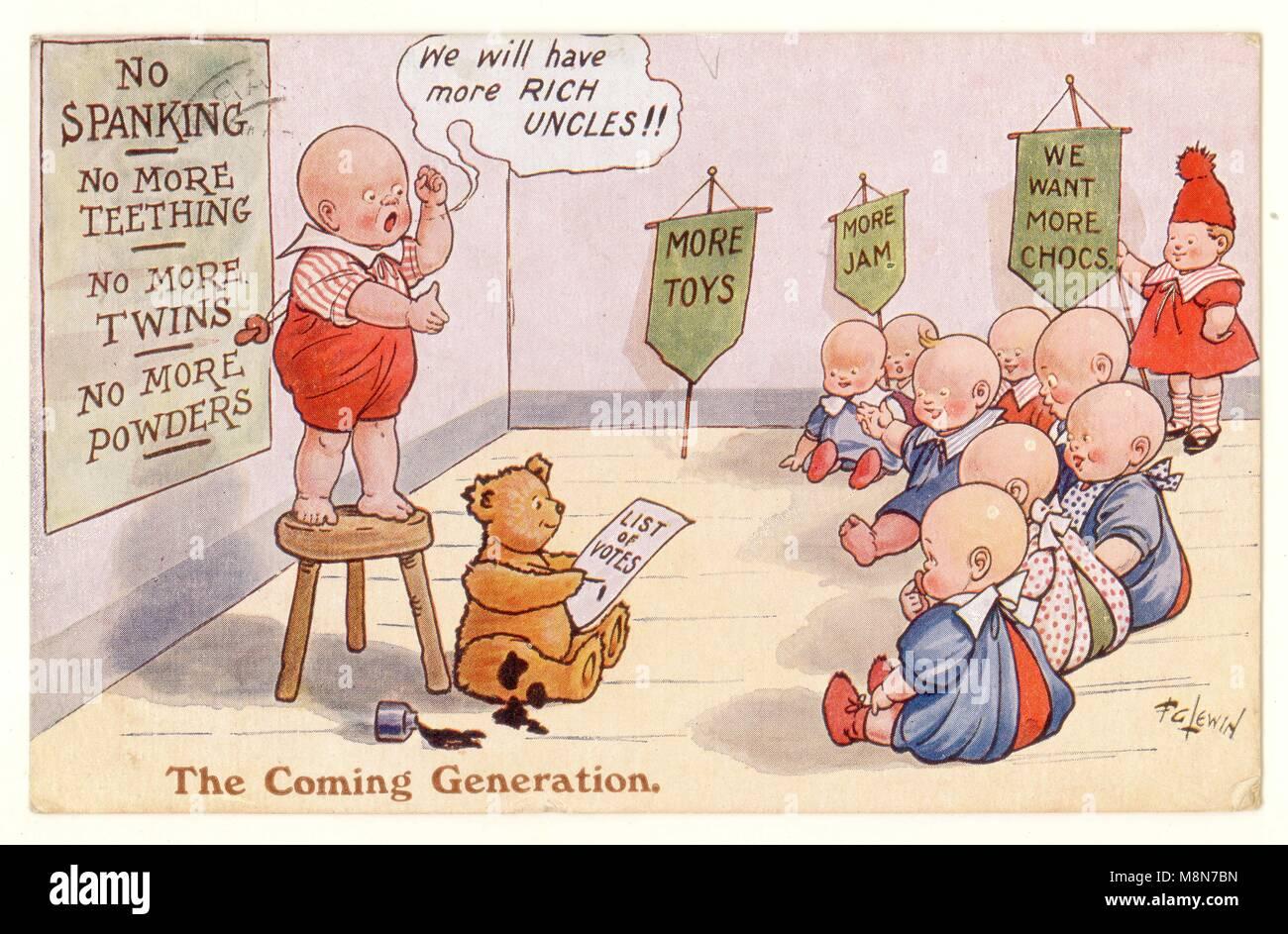 1920er Jahre Comic-Postkarte - die kommende Generation - über verwöhnte Kinder mit der Abstimmung, scheint ein Kommentar zum Wahlrecht zu sein - Stempel auf der Rückseite der Postkarte datiert dies auf möglicherweise zwischen 1924 und 1926. Die Darstellung des Volkes Act von 1928 – gab das gleiche Wahlrecht für Frauen und Männer, Mit Abstimmung möglich bei 21 ohne Eigentumsbeschränkungen, Großbritannien Stockfoto