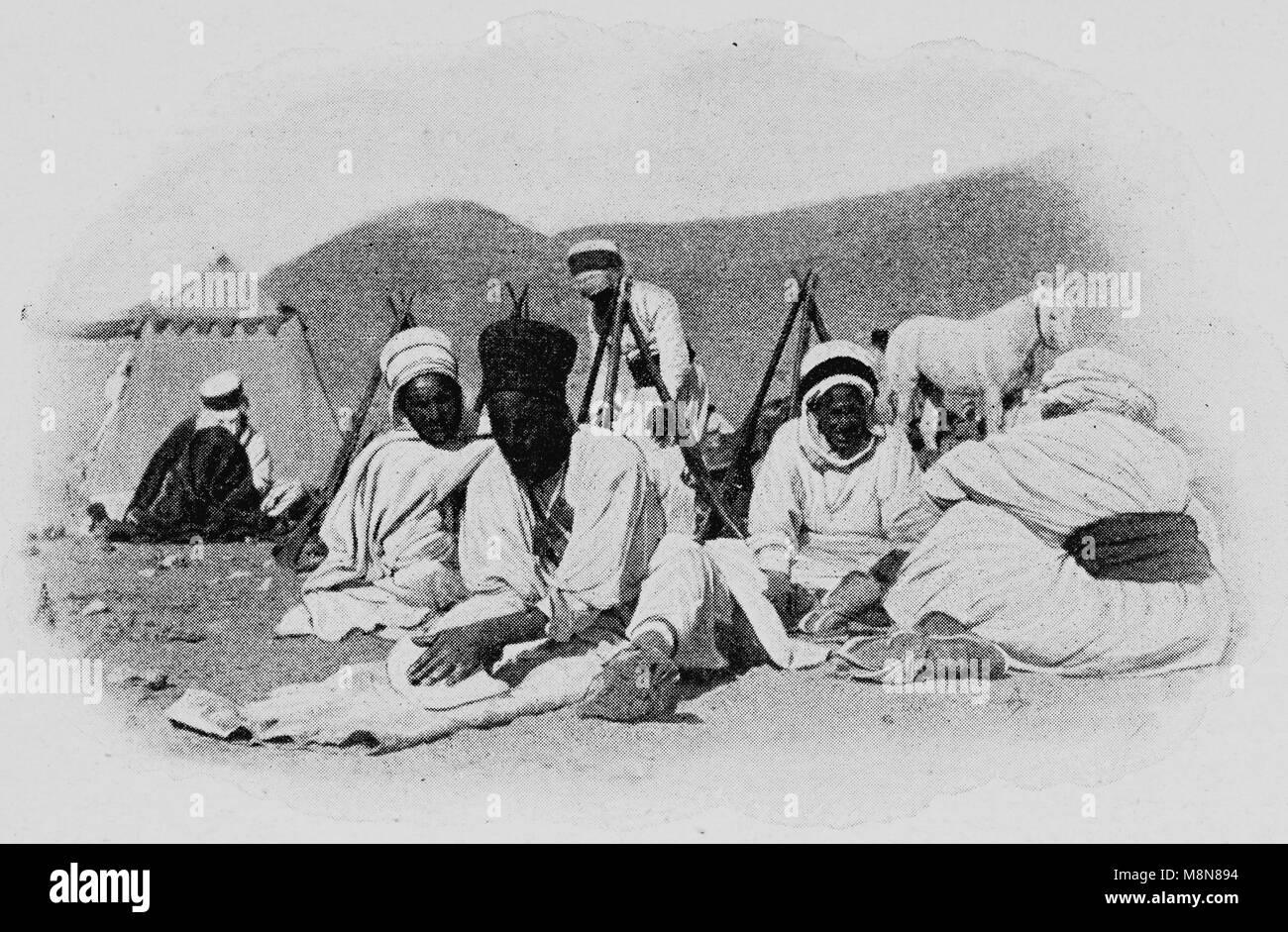 Französische Foureau-Lamy Expedition im Tschad im Jahr 1900, Expedition Camp, Bild aus der Französischen Stockbild