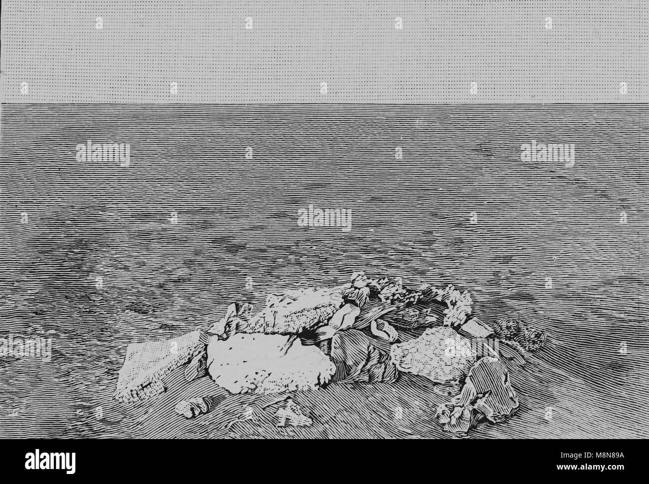 Französische Foureau-Lamy Expedition im Tschad im Jahr 1900 Targui Grab, Bild aus der Französischen Wochenzeitung Stockbild