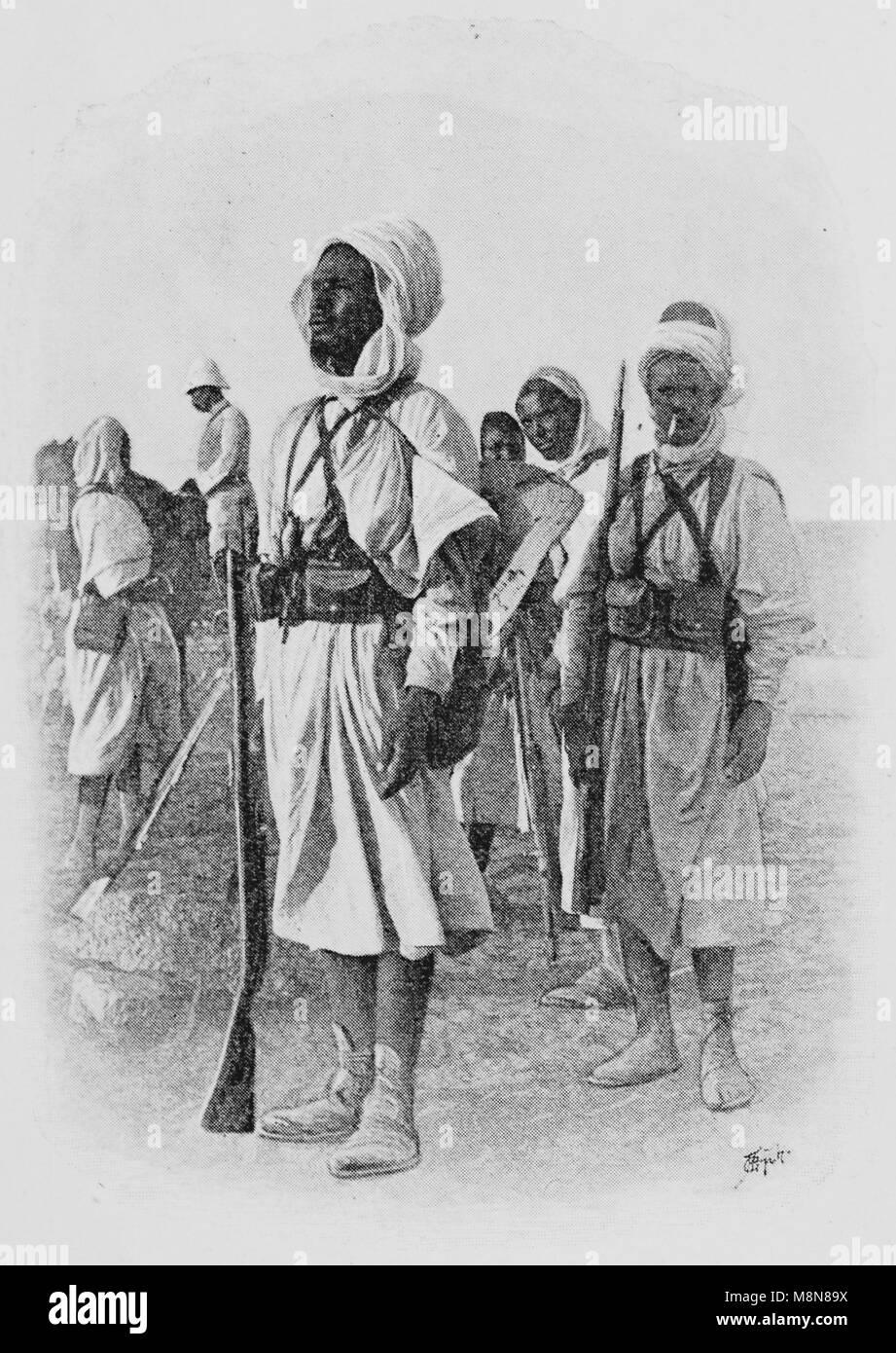 Französische Foureau-Lamy Expedition im Tschad im Jahr 1900 Targui Teilnehmer, Bild aus der Französischen Stockbild