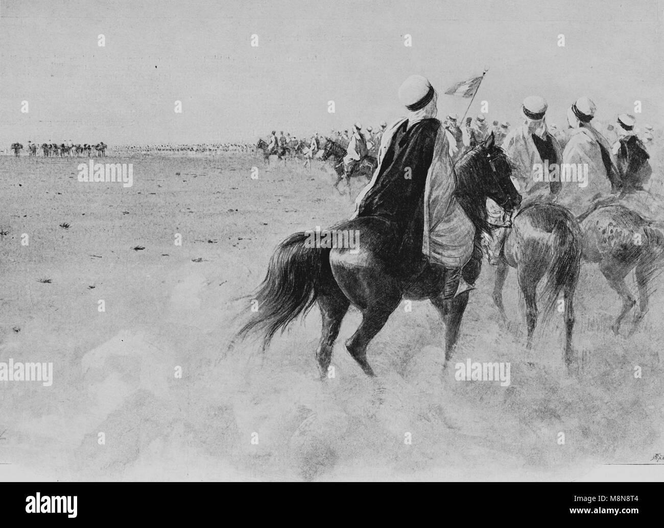 Französische Foureau-Lamy Expedition im Tschad im Jahr 1900, Expedition Wohnwagen, das Bild von der Französischen Stockbild