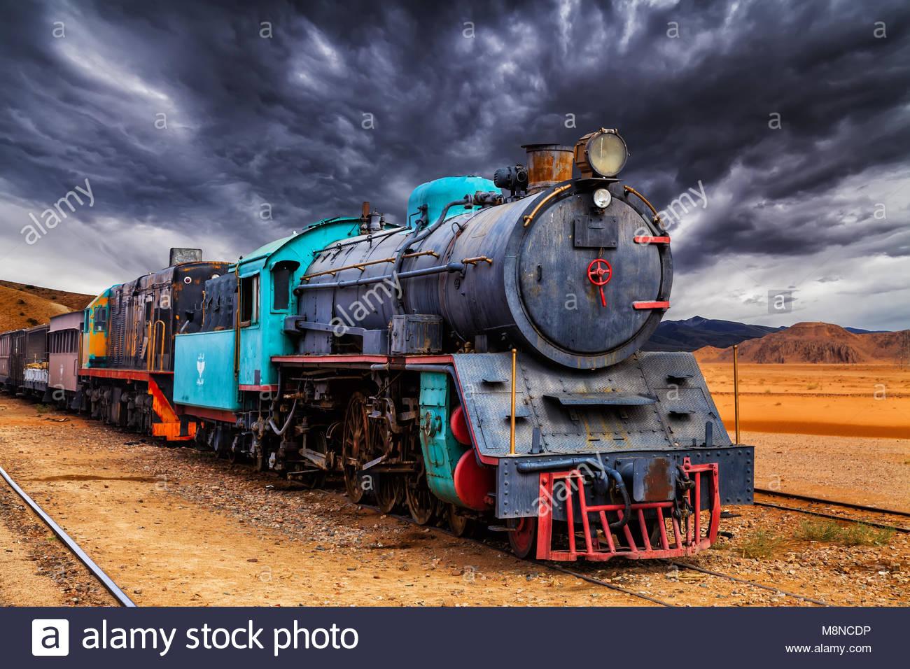 Lok Zug in Wadi Rum Wüste, Jordanien. Stockfoto