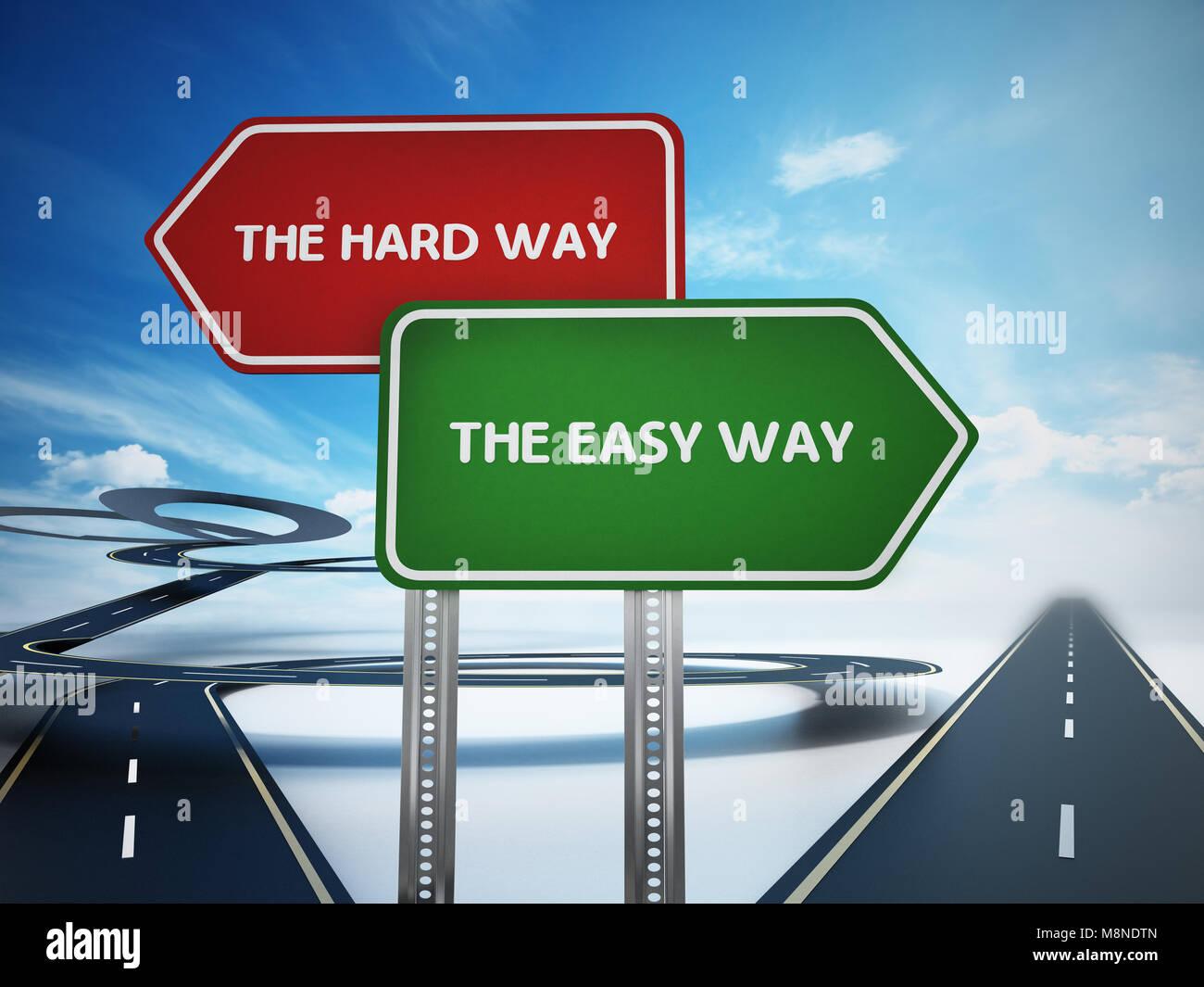 Der einfache Weg und die harte Weise Hinweistafeln mit gebogenen und geraden Straßen. 3D-Darstellung. Stockbild