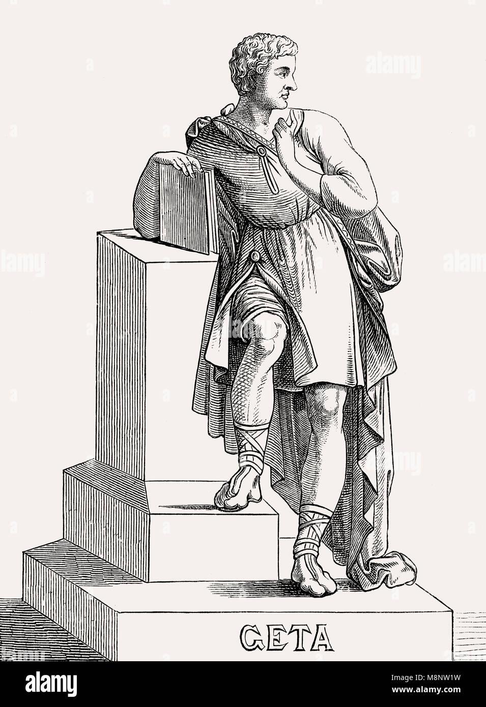 Geta, Publius oder Lucius Septimius Geta Augustus, 189 - 211, Römischer Kaiser Stockbild