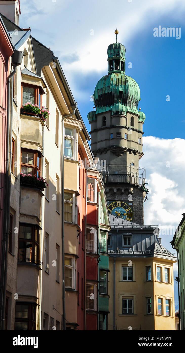 Stadtturm in Innsbruck. Stockbild