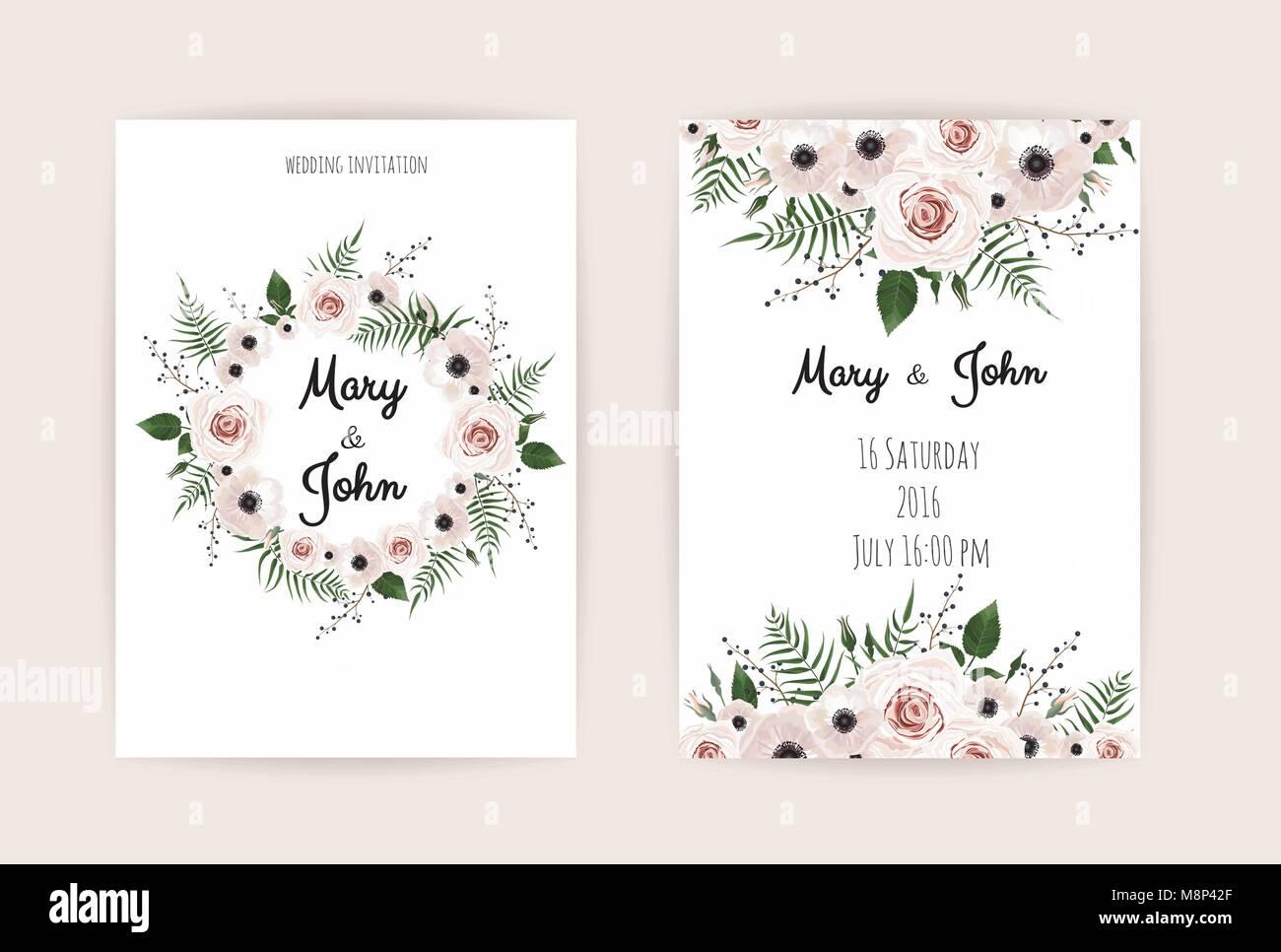 Hochzeit Einladung Karte Modernen Design Vektor Elegante Aquarell